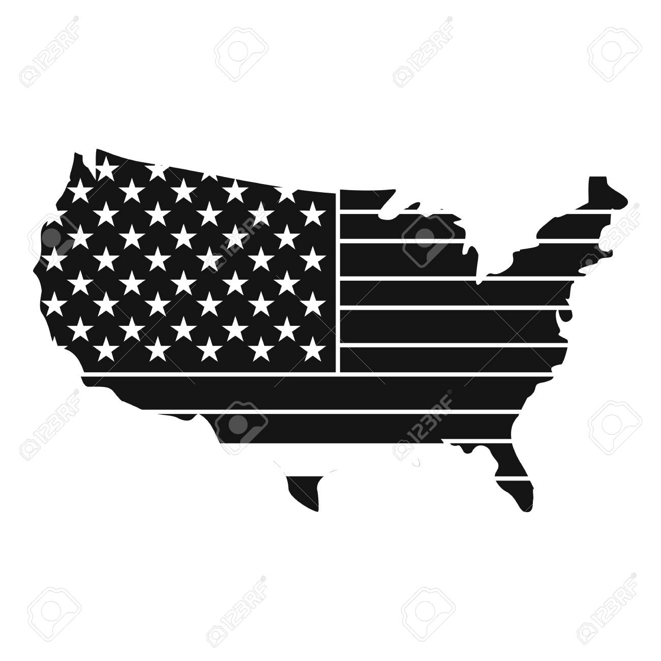 American Map Icon Simple Style