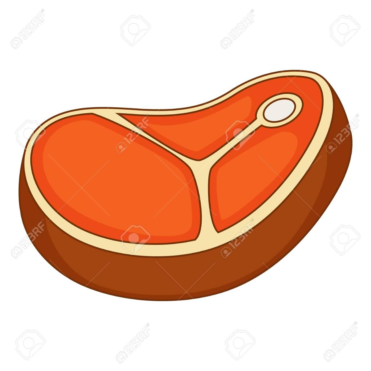 Icone De Steak De Viande Style De Dessin Anime
