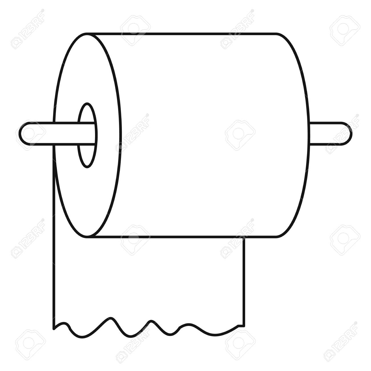toilet paper on holder icon outline style royalty free cliparts rh 123rf com no toilet paper clipart toilet paper clipart