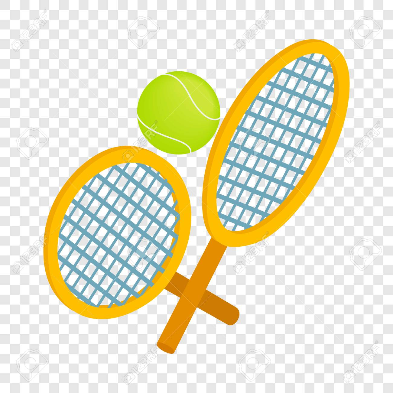 Tennis Rackets With Ball Isometric Icon 3d On A Transparent Background Royalty Free Cliparts Vectors And Stock Illustration Image 73223764
