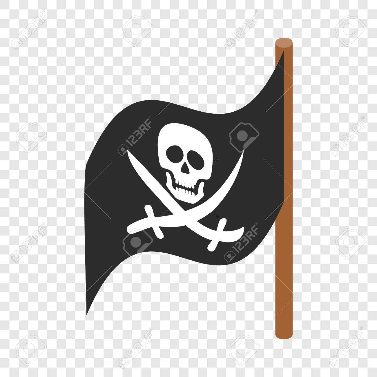 Pirate Flag Isometric Icon 3d On A Transparent Background Vector