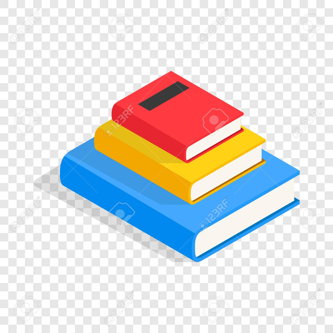 three books on each other isometric icon 3d on a transparent