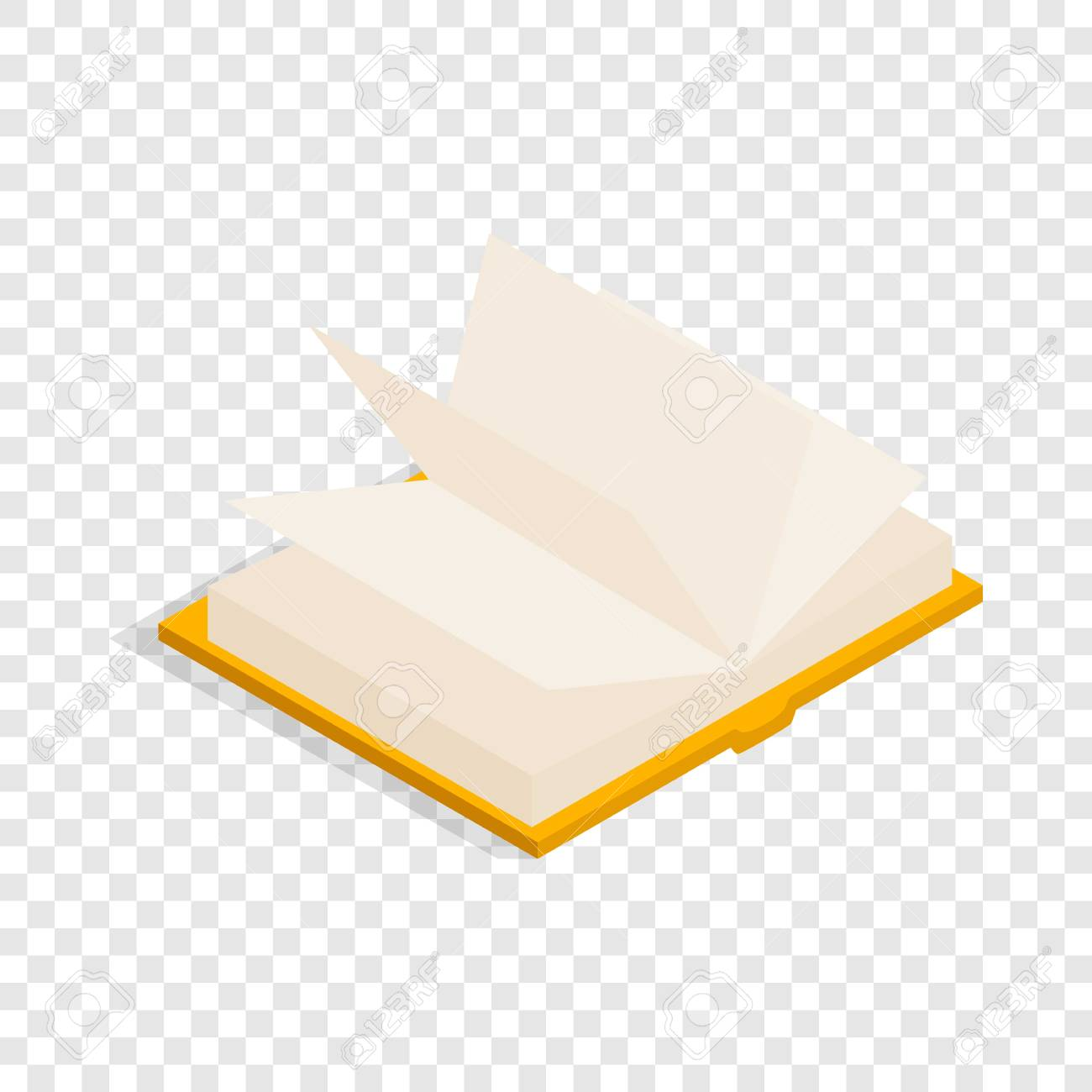 yellow open book isometric icon 3d on a transparent background