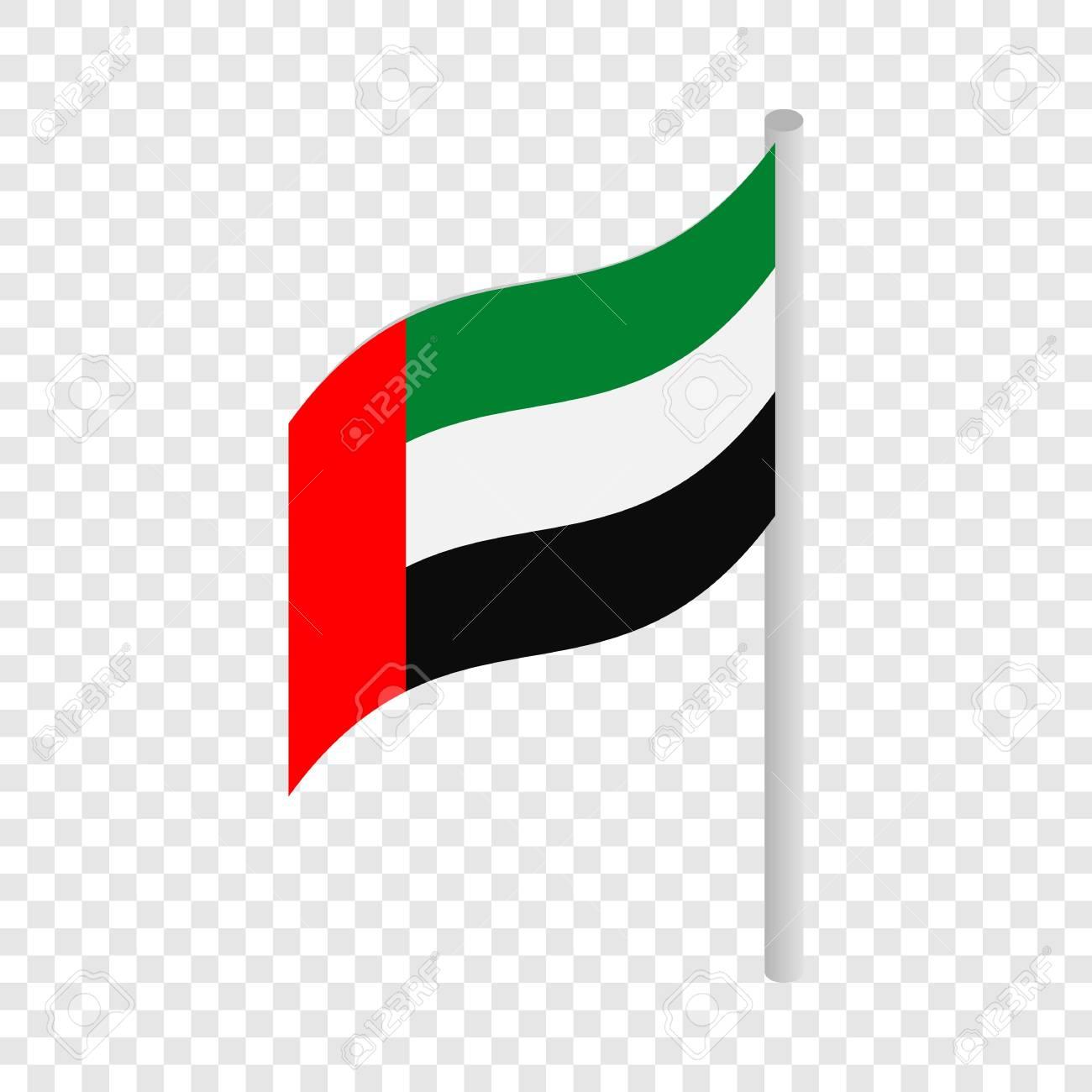 flag of united arab emirates isometric icon 3d on a transparent