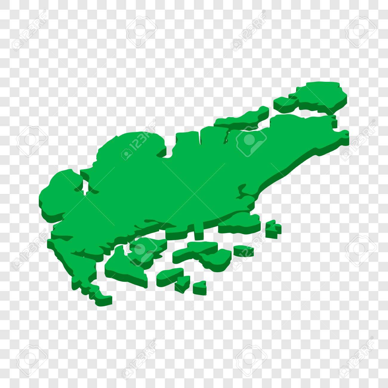 Map Of Singapore Isometric Icon 3d On A Transparent Background ...