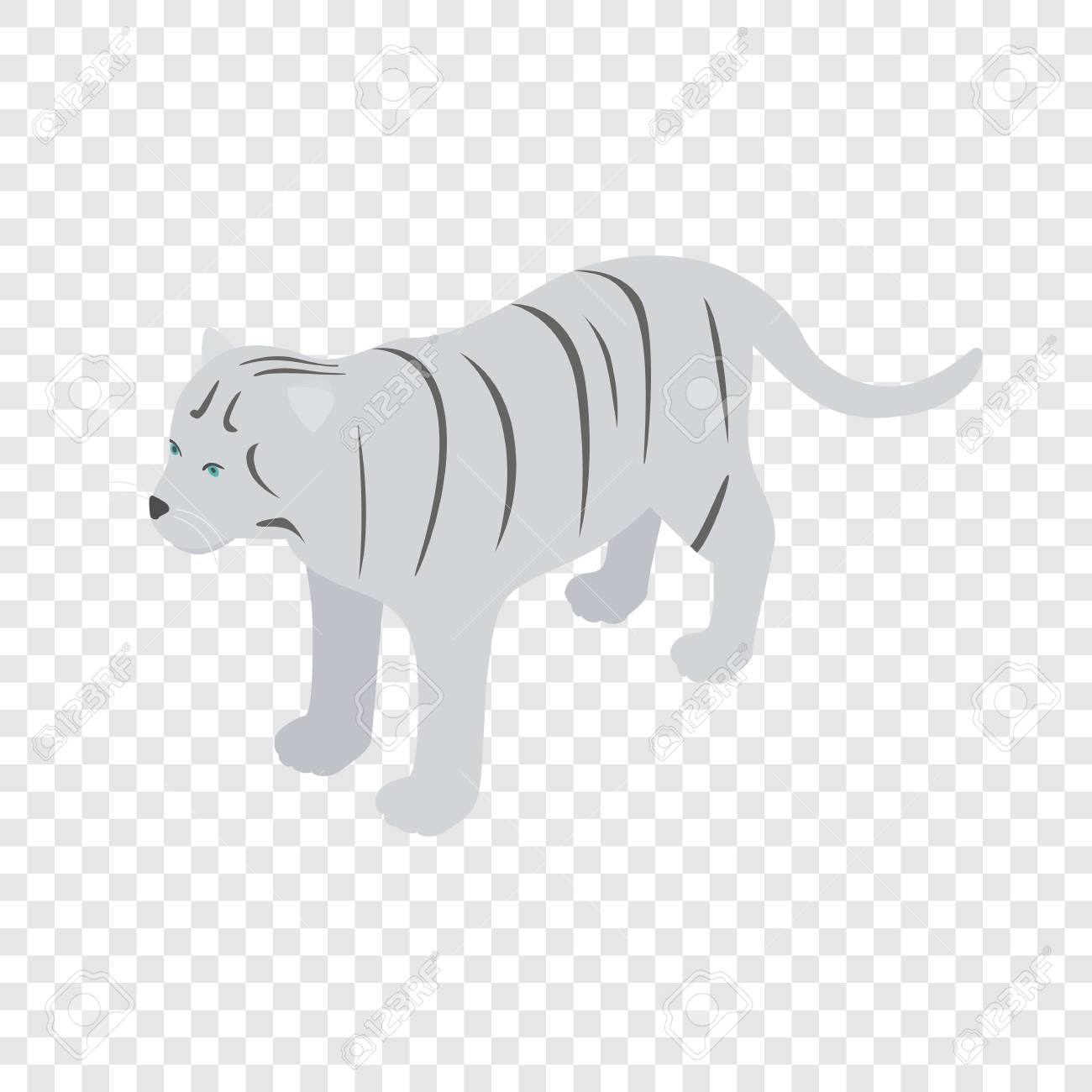 White Tiger Isometric Icon 3d On A Transparent Background Vector