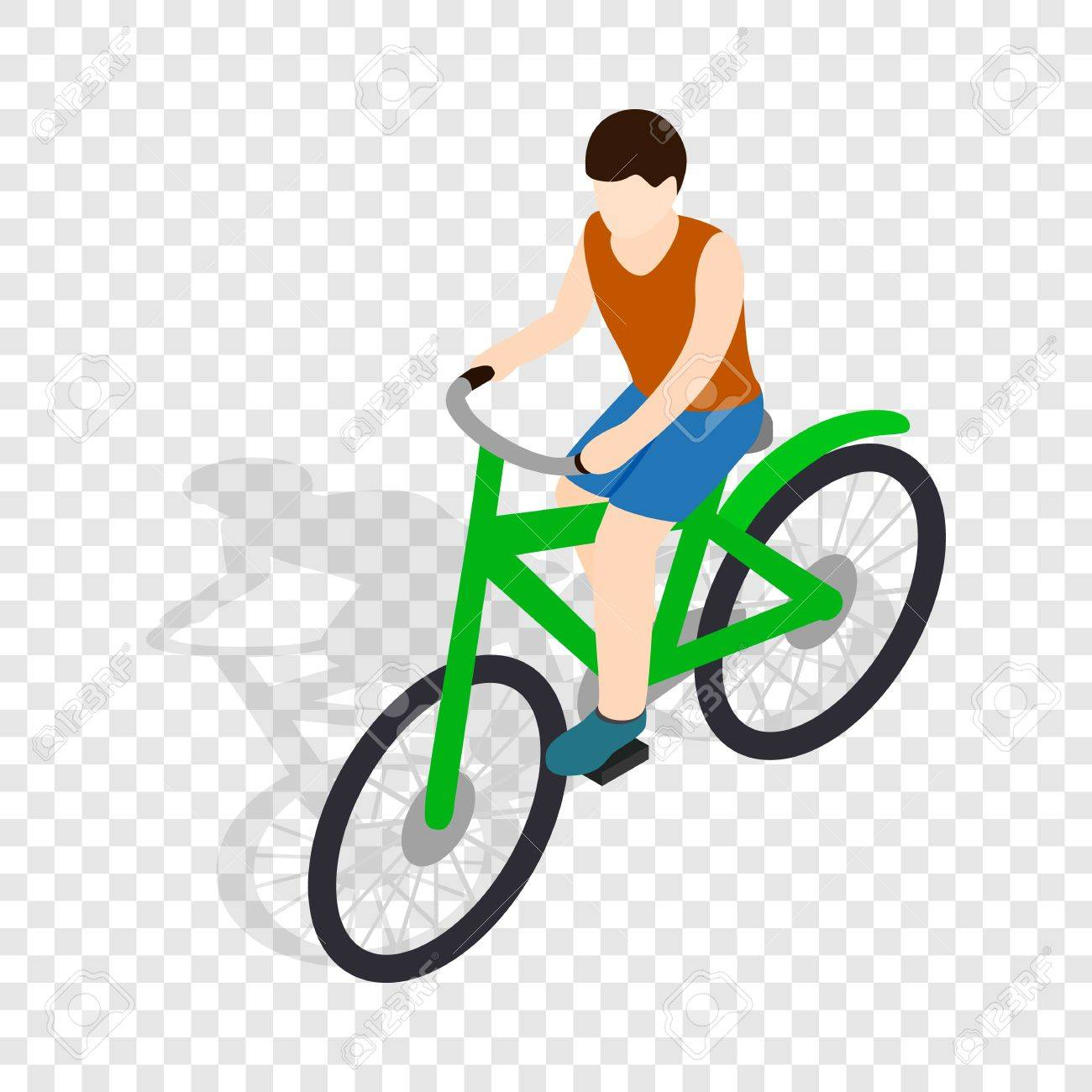 cyclist riding a bike isometric icon 3d on a transparent background