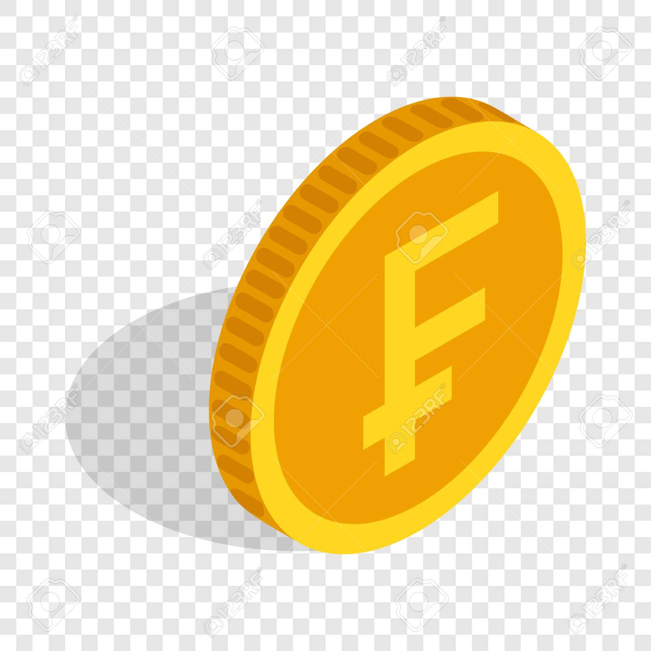 Gold Coin With Swiss Frank Sign Isometric Icon 3d On A Transparent Background Vector Illustration Stock