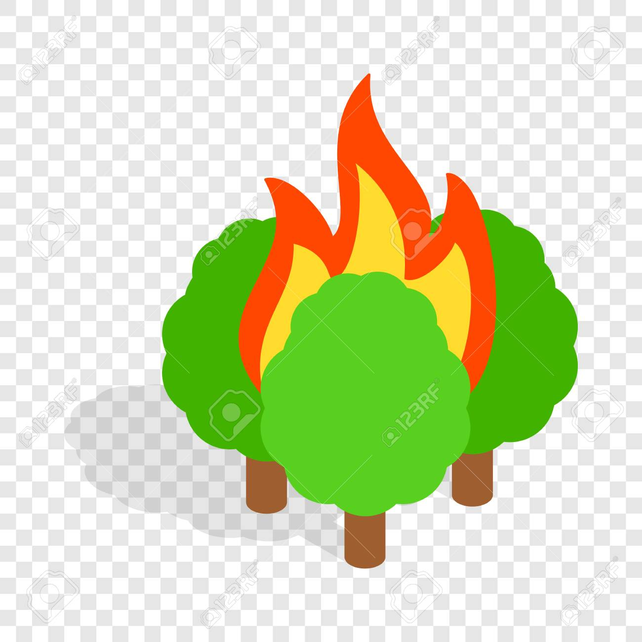 Burning Trees Isometric Icon 3d On A Transparent Background Vector Illustration Stock