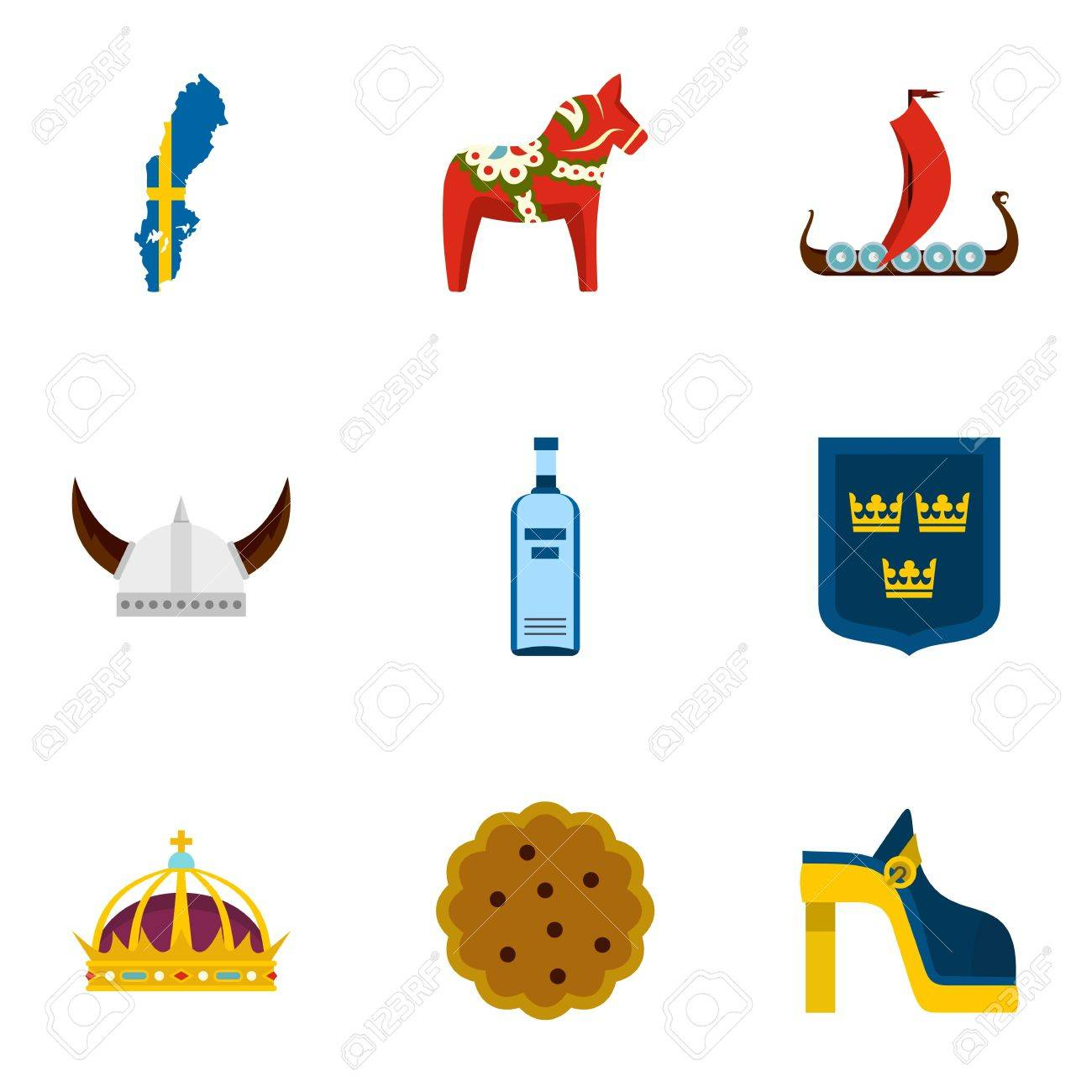Symbols Of Sweden Icons Set Flat Style Royalty Free Cliparts