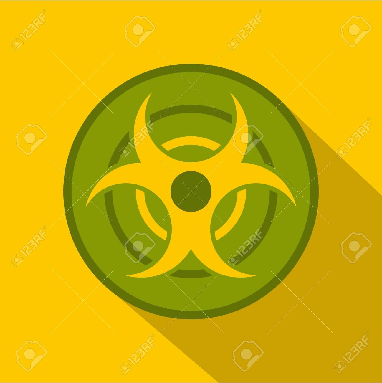 Biohazard Symbol Icon Flat Style Royalty Free Cliparts Vectors