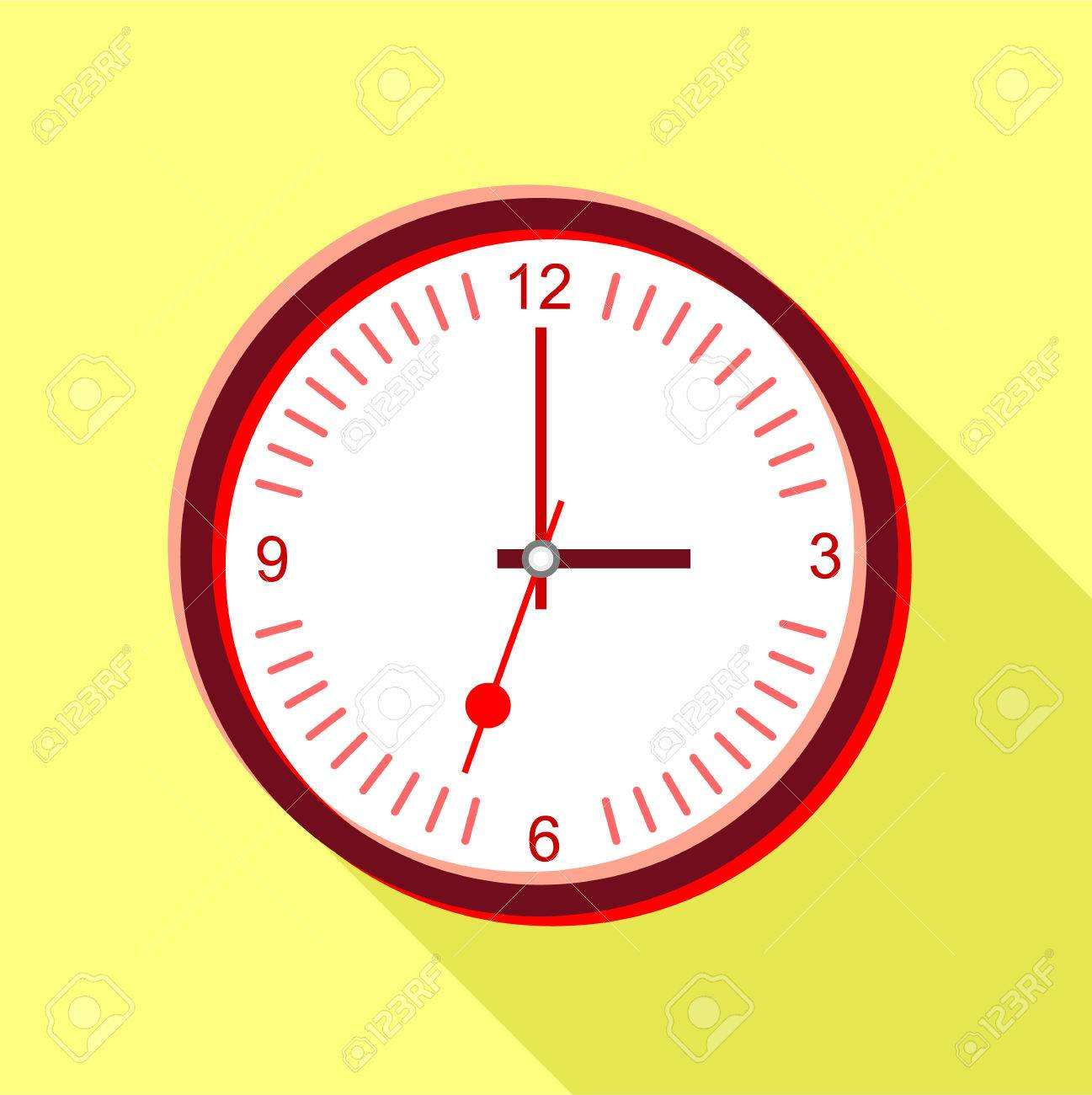 Clock Face With Red Numbers Icon. Flat Illustration Of Clock ...