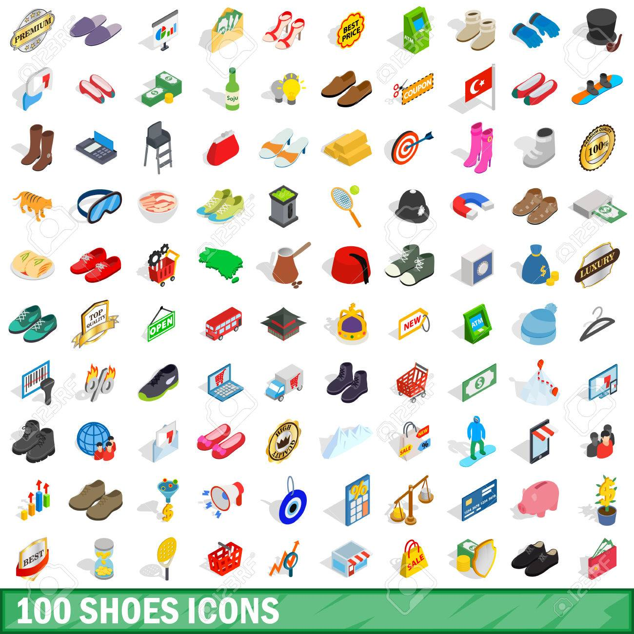 5de143fb 100 Shoes Icons Set, Isometric 3d Style Royalty Free Cliparts ...