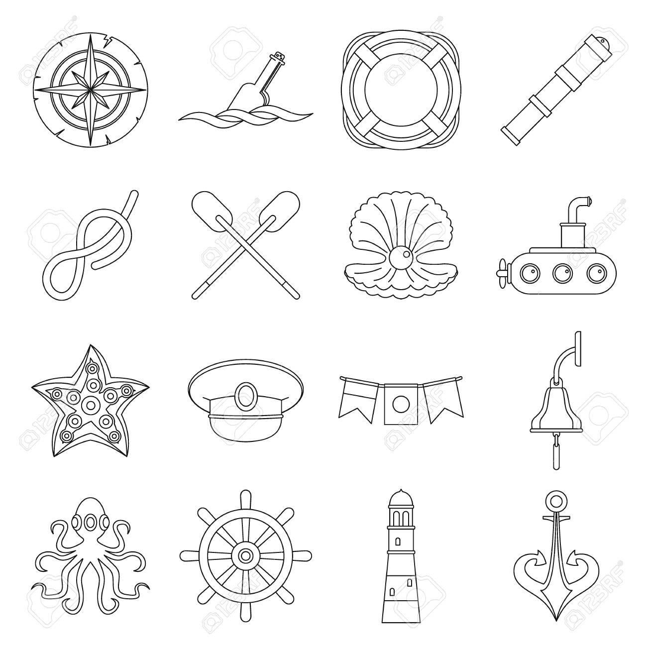 85fde2ac5 Nautical icons set, outline style