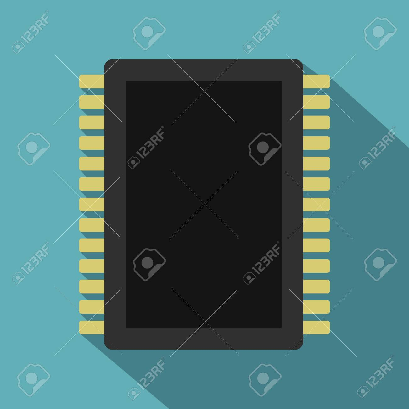 Computer Electronic Circuit Board Icon Flat Style Royalty Free Symbols Stock Vector 75597350