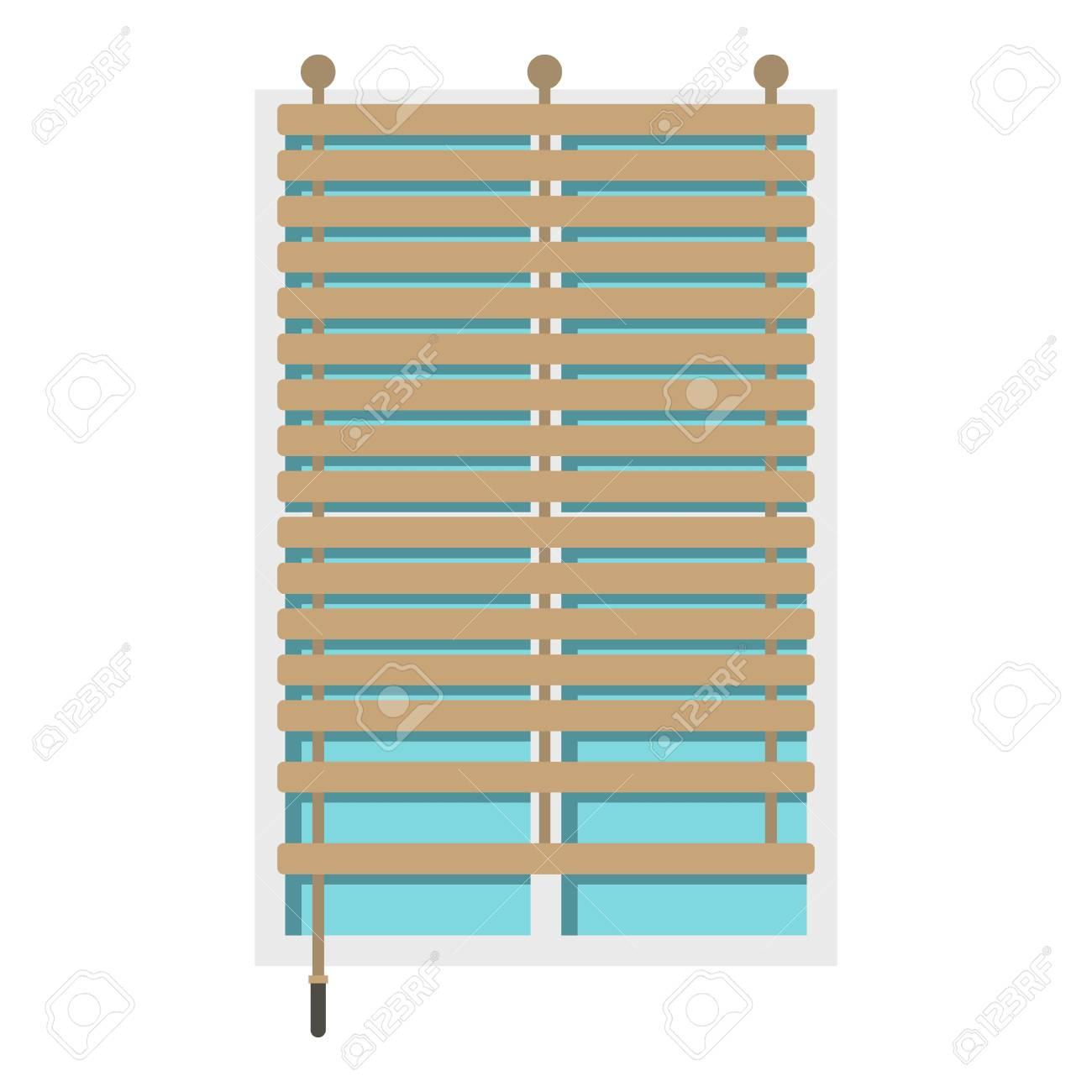 Fenêtre Avec Icône De Jalousie En Bois Isolé Clip Art Libres De