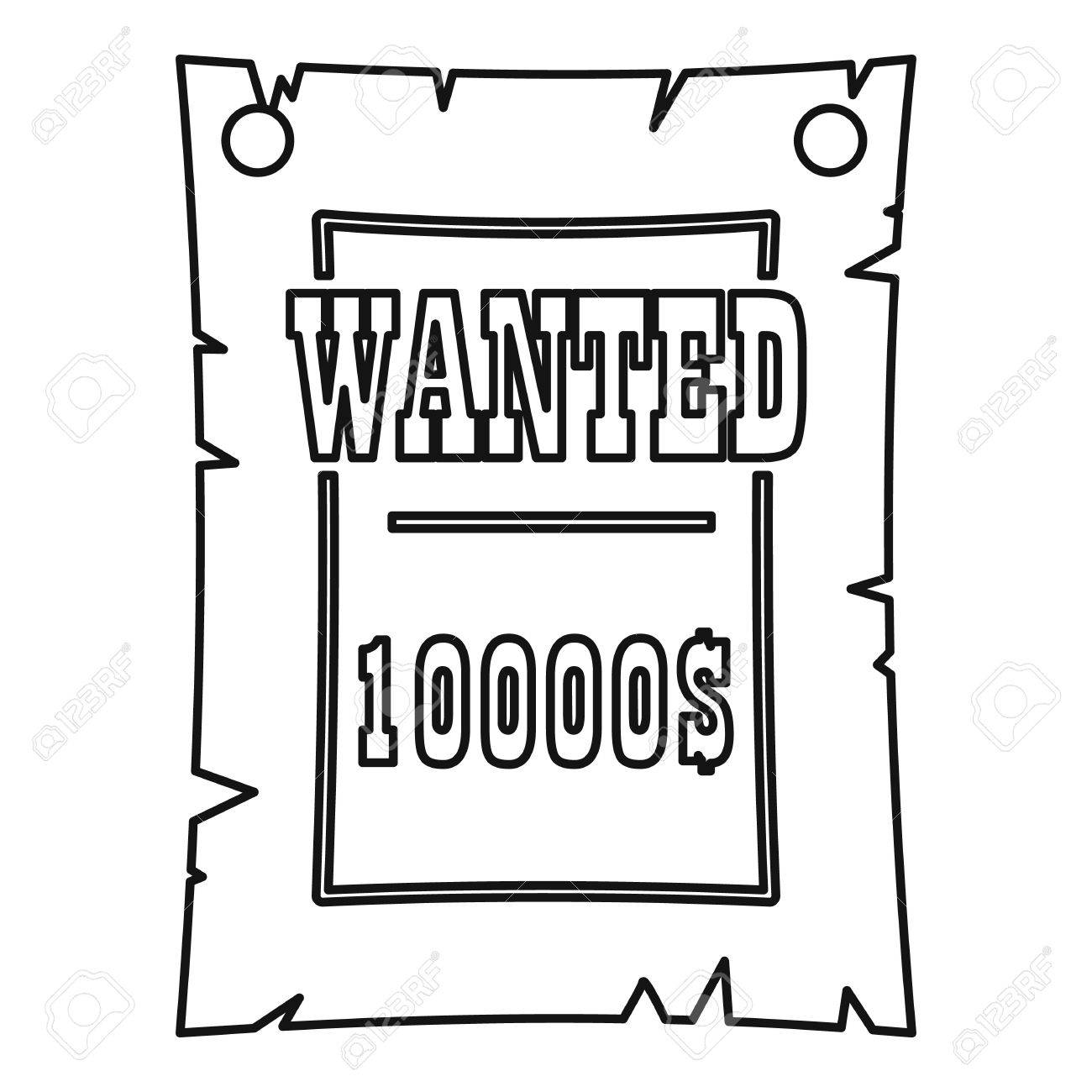 Vintage Wanted Poster Icon, Outline Style Royalty Free Cliparts ...