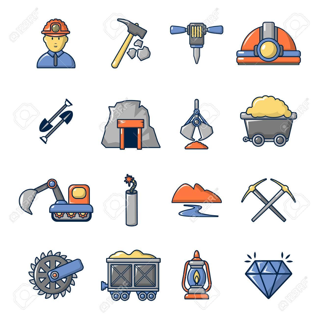 Mineria De Minerales De Negocios Conjunto De Iconos Ilustracion De Dibujos Animados De 16 Iconos De Vector De Negocios De Minerales Mineros Para Web Ilustraciones Vectoriales Clip Art Vectorizado Libre De Derechos