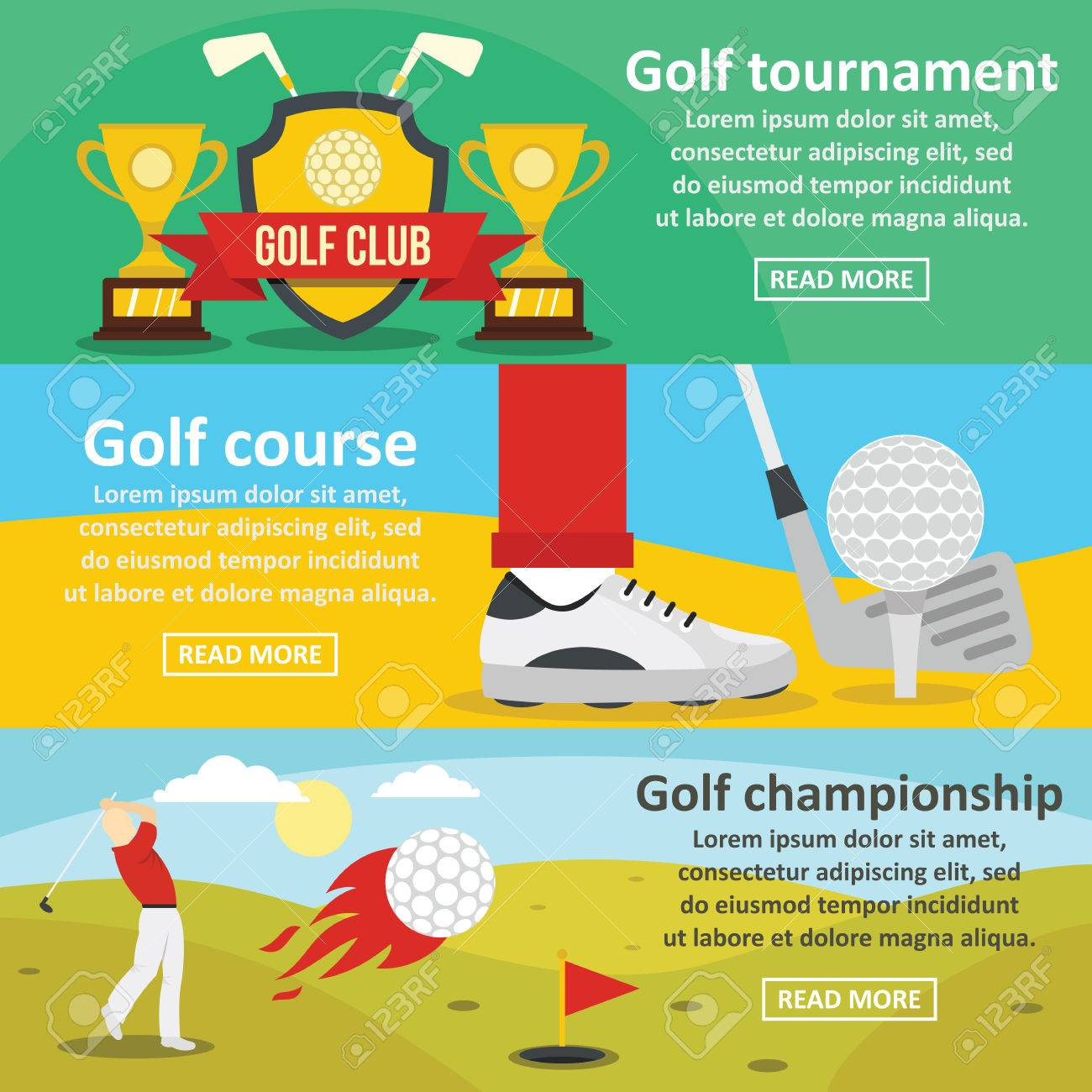 cb5cbe08b Conjunto de concepto de banner horizontal de torneo de golf. Ilustración  plana de 3 torneo