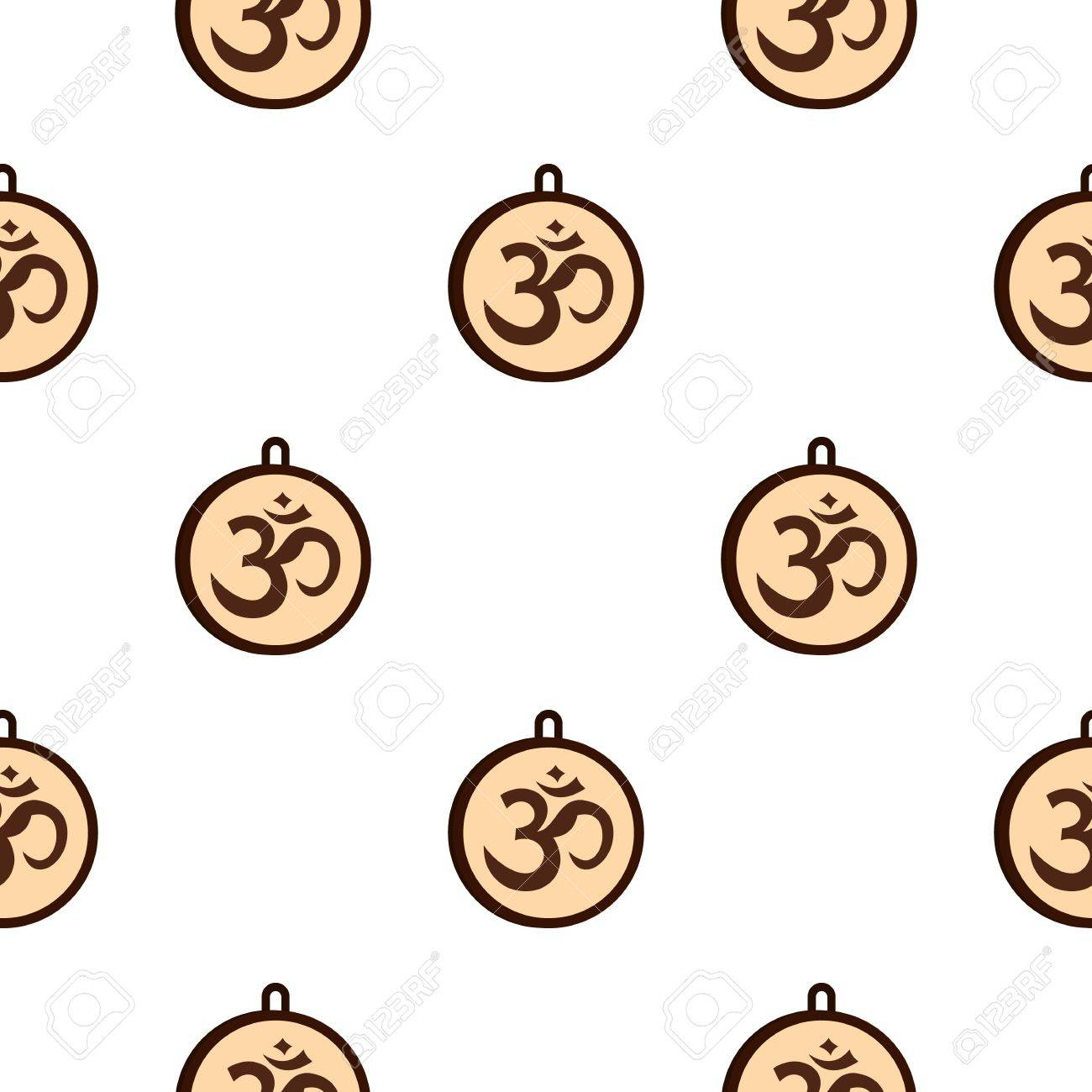 Hindu Om Symbol Pattern Seamless For Any Design Vector Illustration