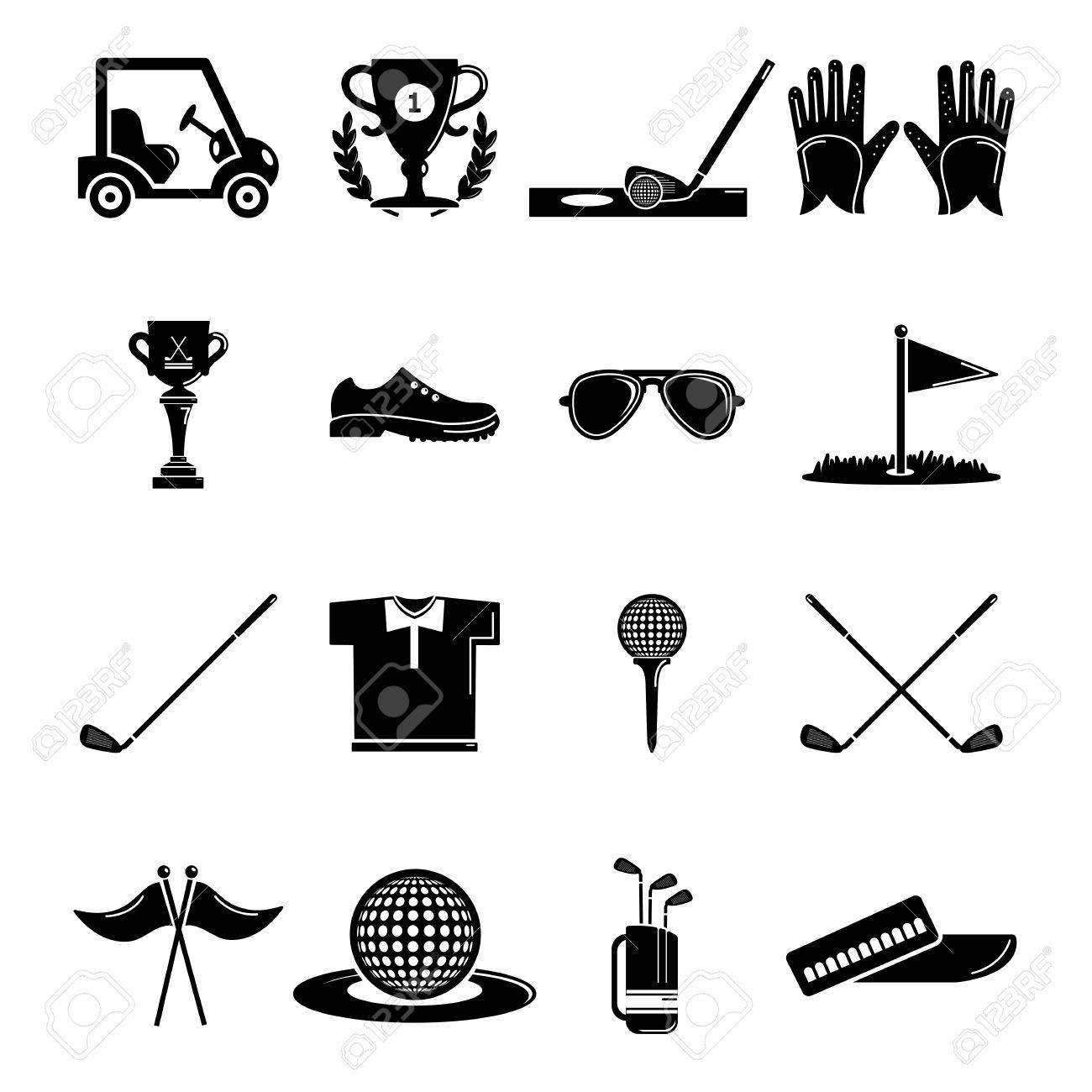 Golf icons set symbols simple illustration of 16 golf symbols golf icons set symbols simple illustration of 16 golf symbols vector icons for web stock biocorpaavc Images