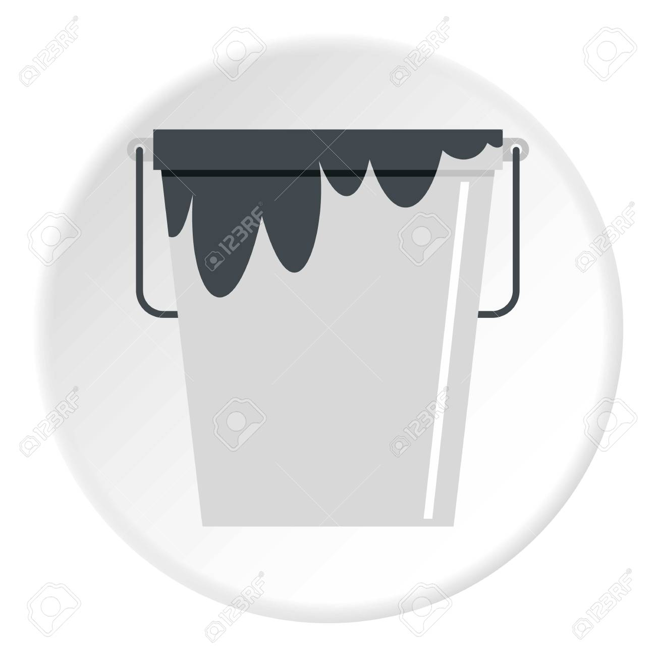 Bitumen emulsion in grey bucket icon in flat circle isolated vector illustration for web - 81305739