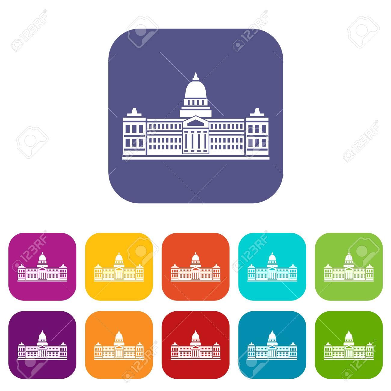 議会の宮殿、アルゼンチンのアイコン セット フラット ロイヤリティ