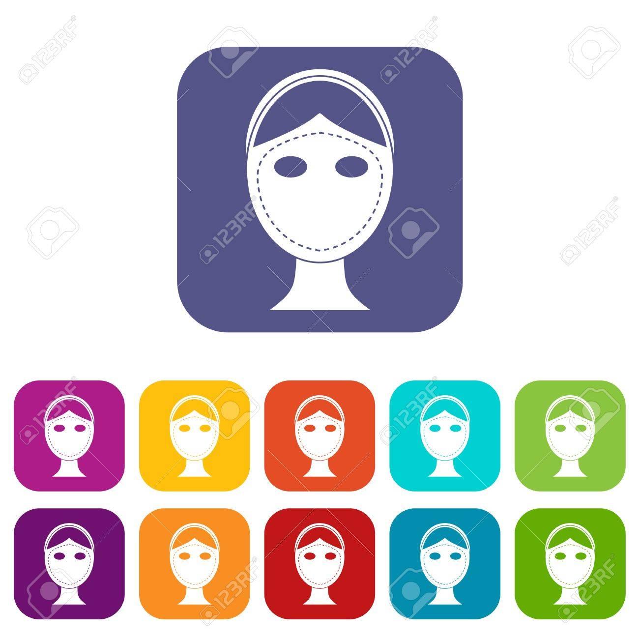 a17576a87edcce Banque d images - Visage marqué pour les icônes de chirurgie esthétique  Définir l illustration vectorielle en style plat En couleurs rouge, bleu,  ...