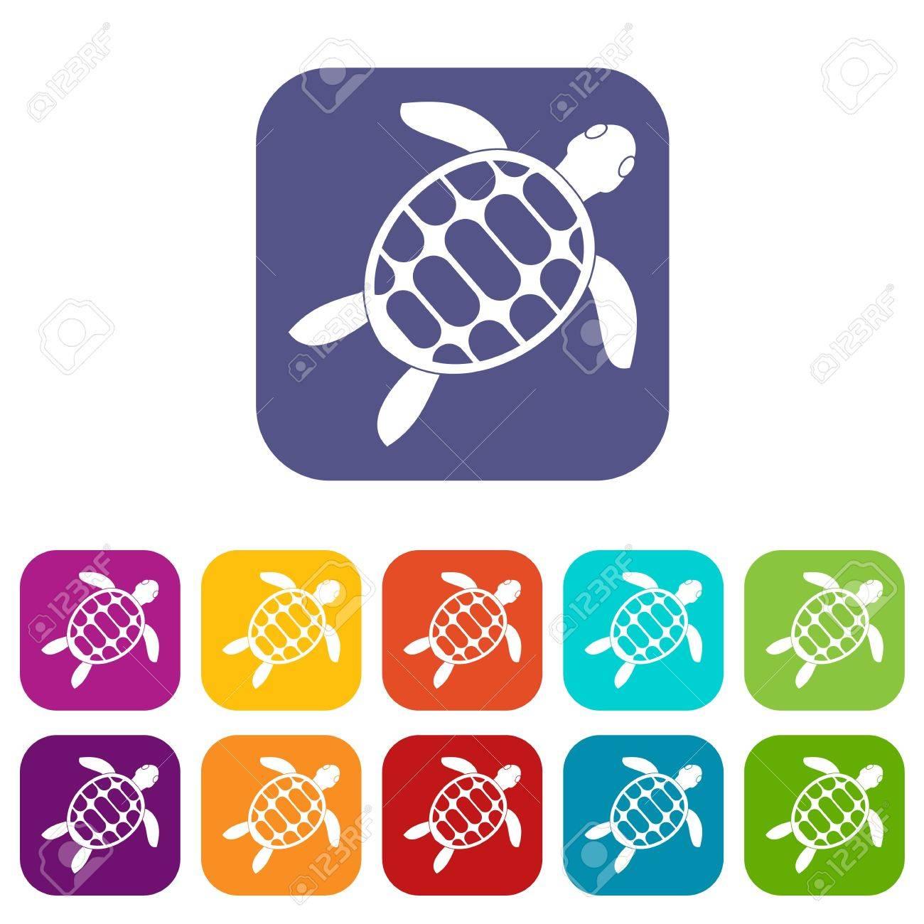 Schildkröte Icons Set Vektor-Illustration In Flachen Stil In Farben ...