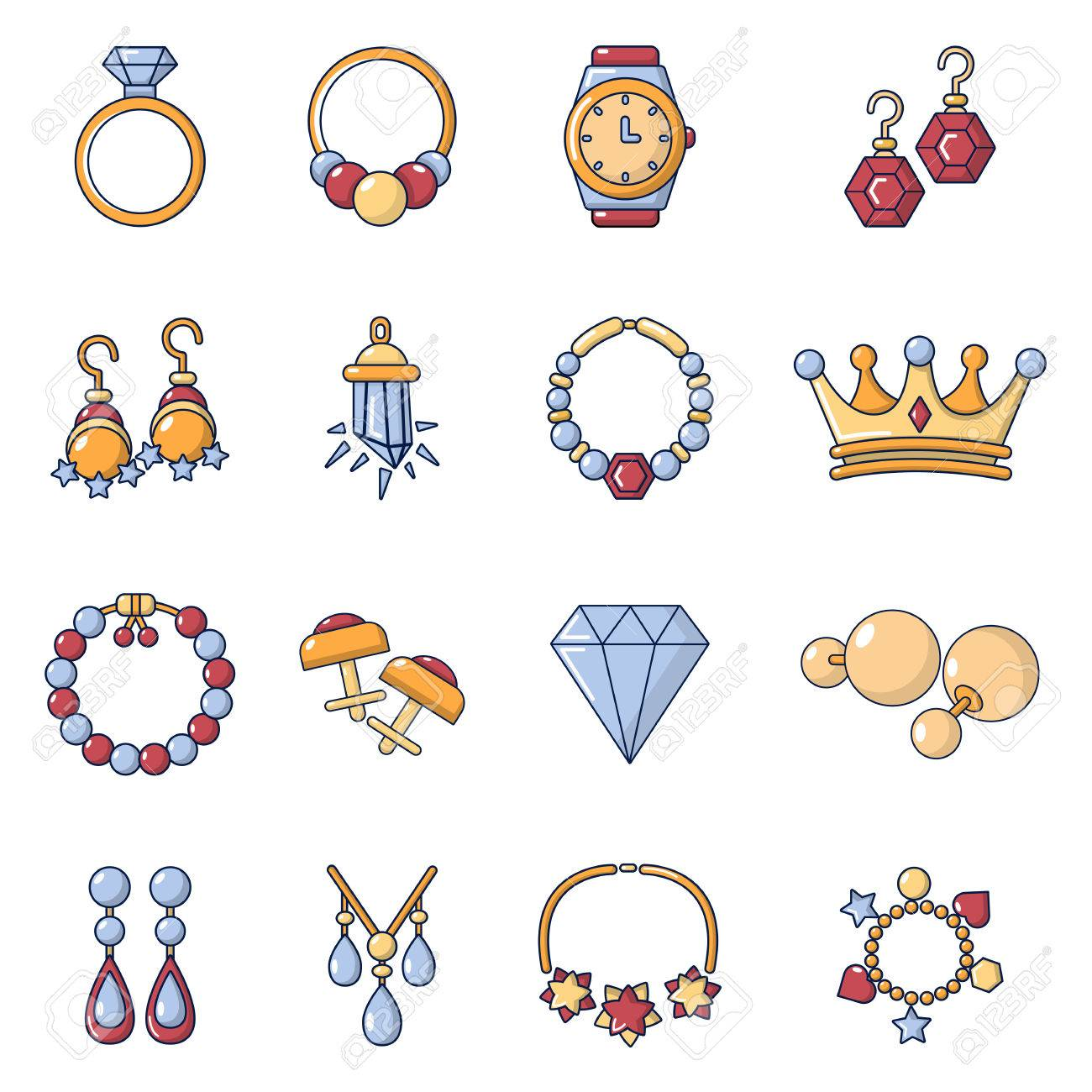 jewelry shop icons set cartoon style royalty free cliparts vectors