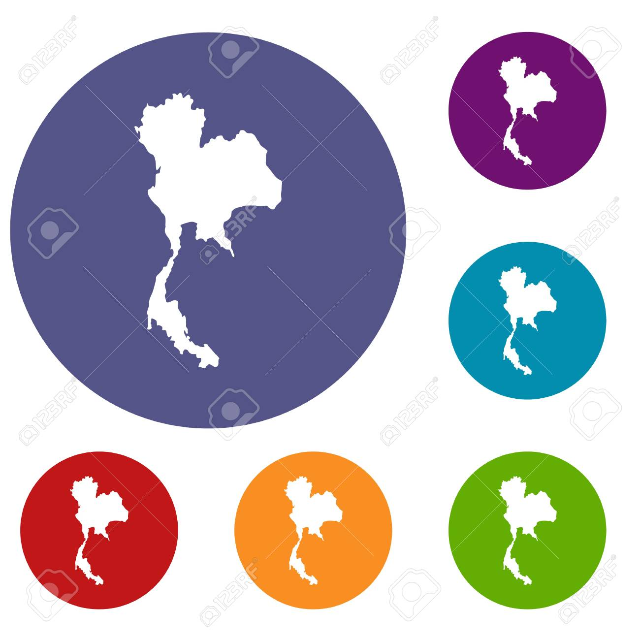 Thailand map icons set in flat circle reb blue and green color thailand map icons set in flat circle reb blue and green color for web stock gumiabroncs Gallery