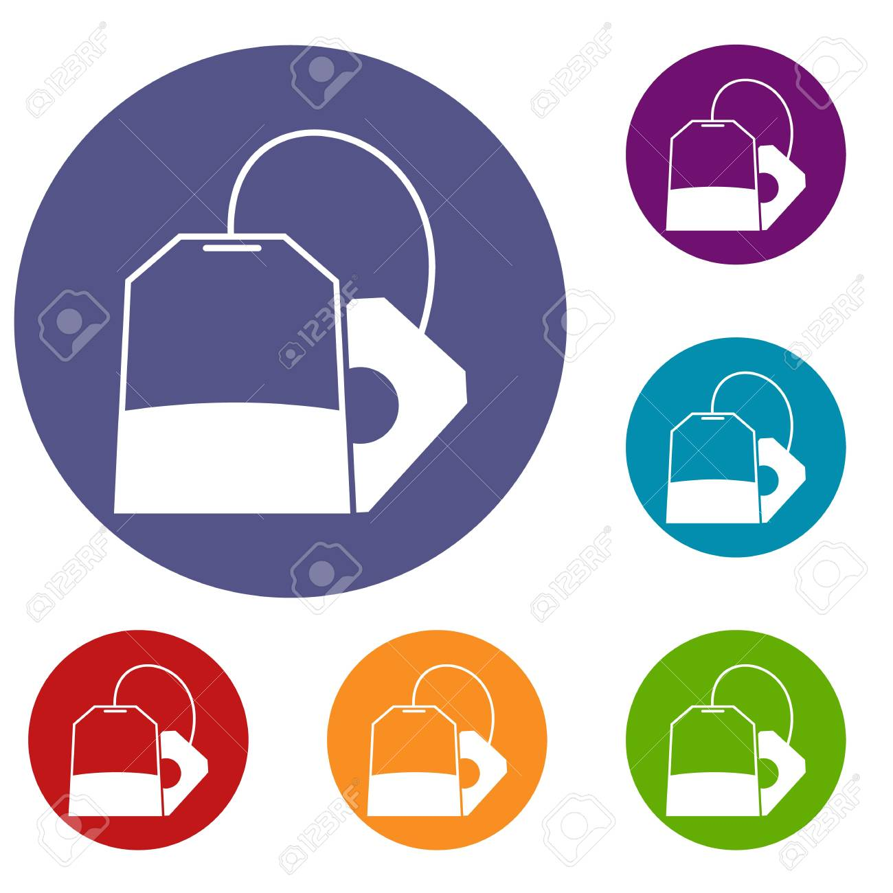 teabag icons set in flat circle reb blue and green color for