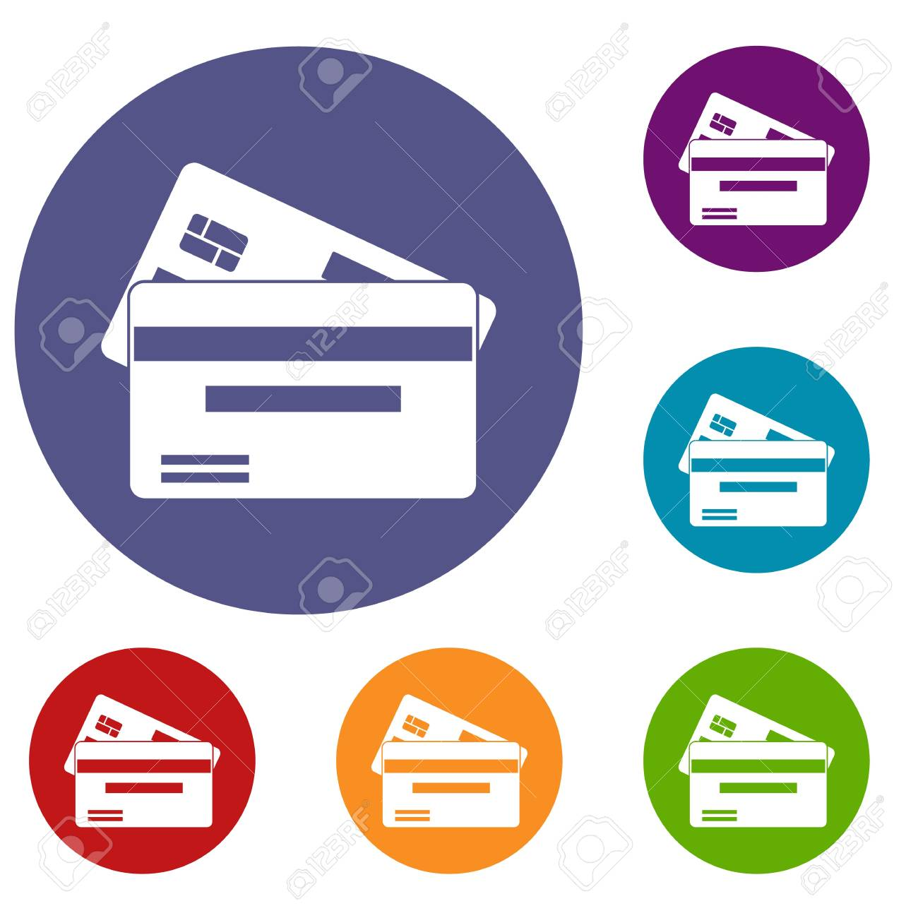 credit card icons set in flat circle reb blue and green color rh 123rf com credit card icons vector free download credit card icons vector