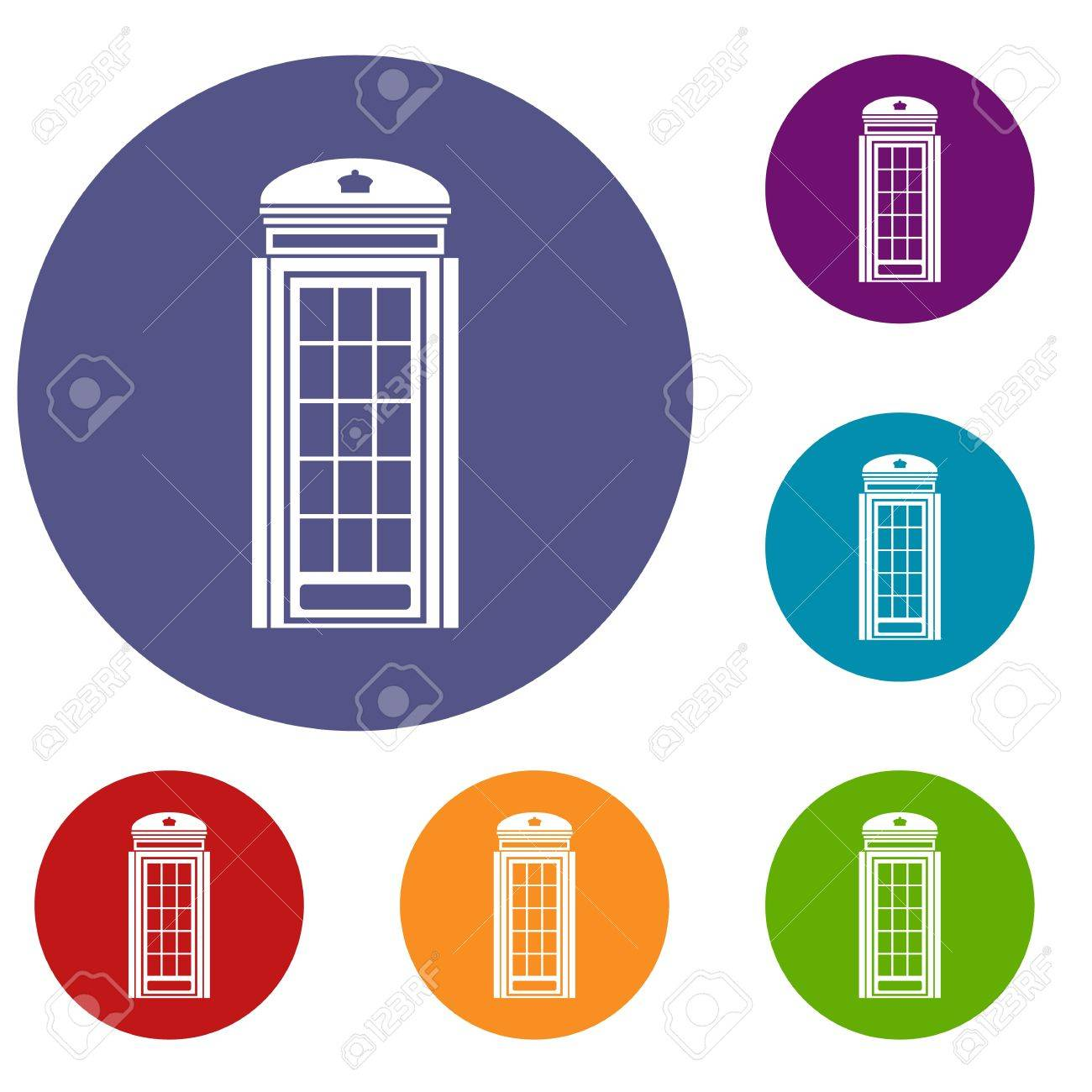 phone booth icons set in flat circle red blue and green color rh 123rf com