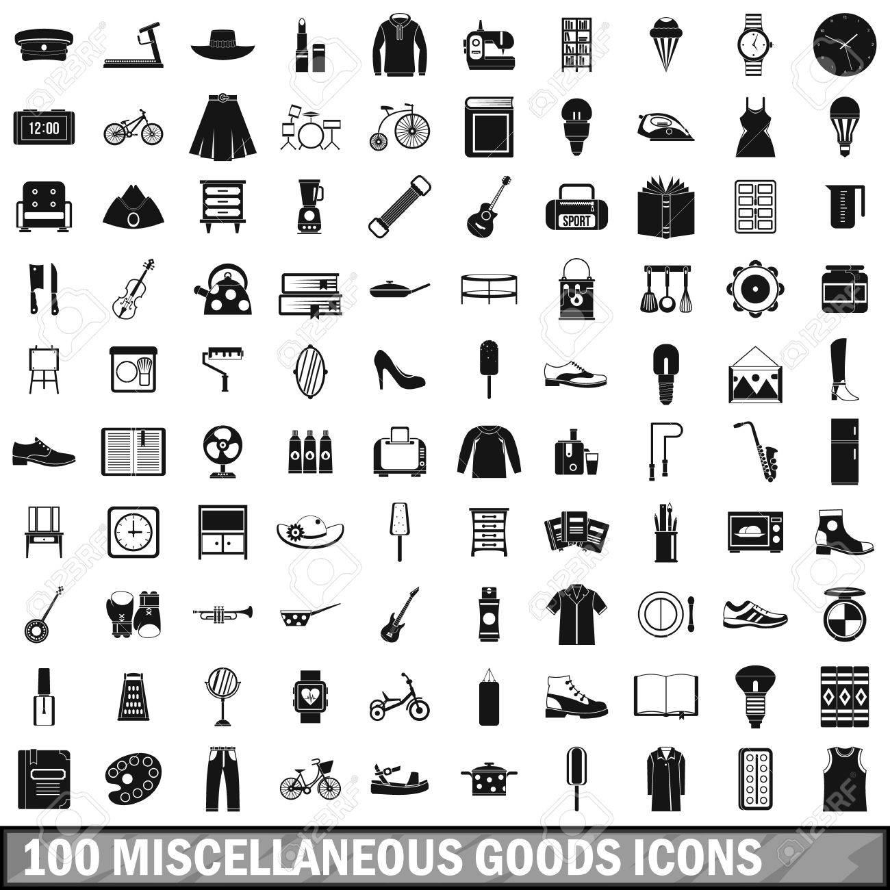 100 雑貨アイコン セット、シンプルなスタイル ロイヤリティフリー