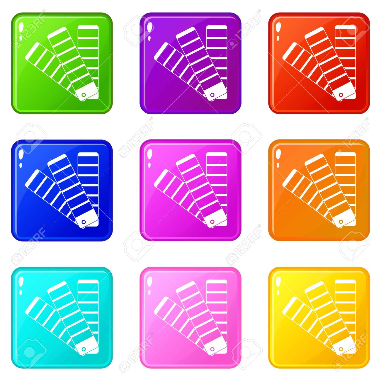 Paint Color Selection Booklet Icons 9 Set Royalty Free Cliparts ...