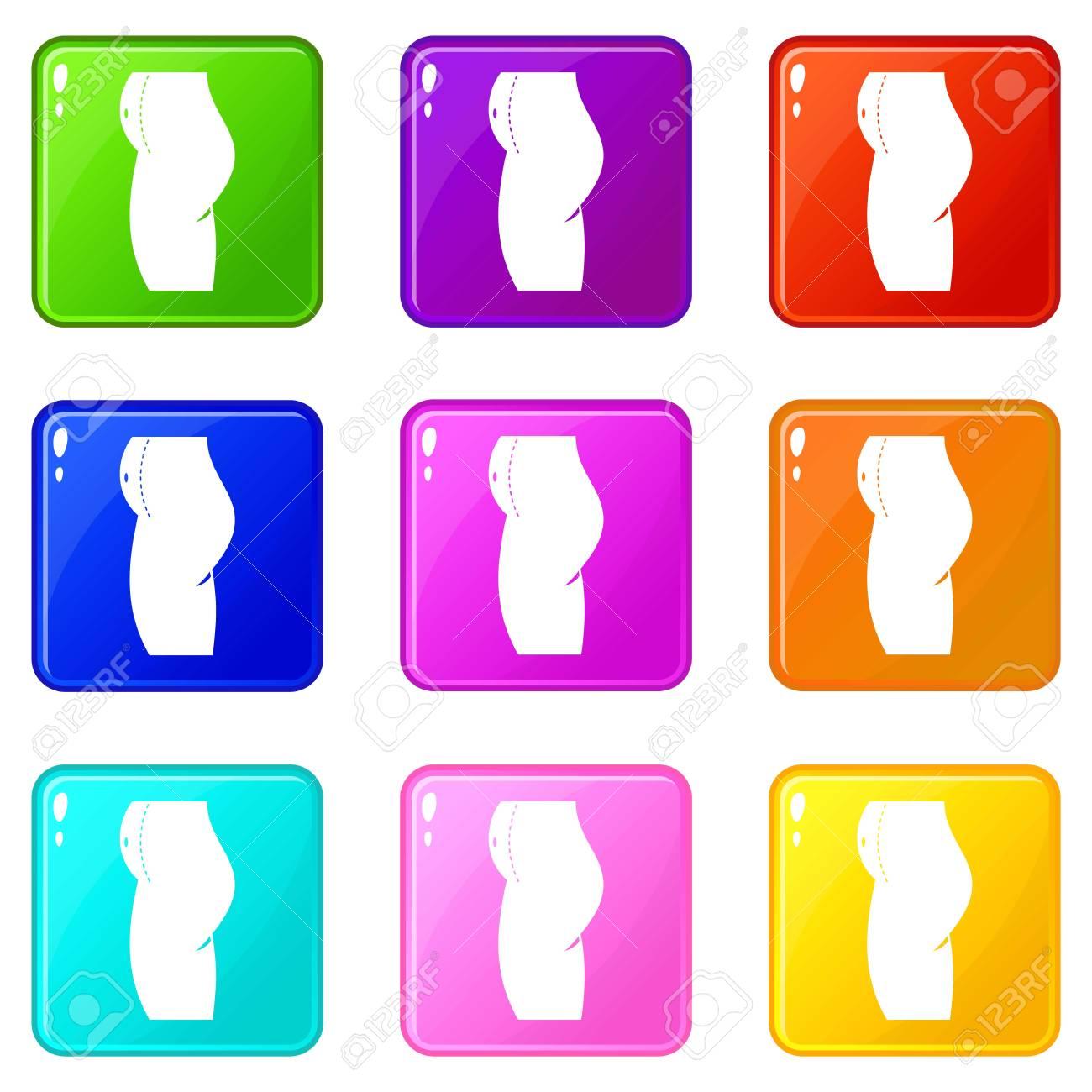 28ffd45c0624bc Banque d images - Femme préparée aux icônes de chirurgie du ventre 9 set
