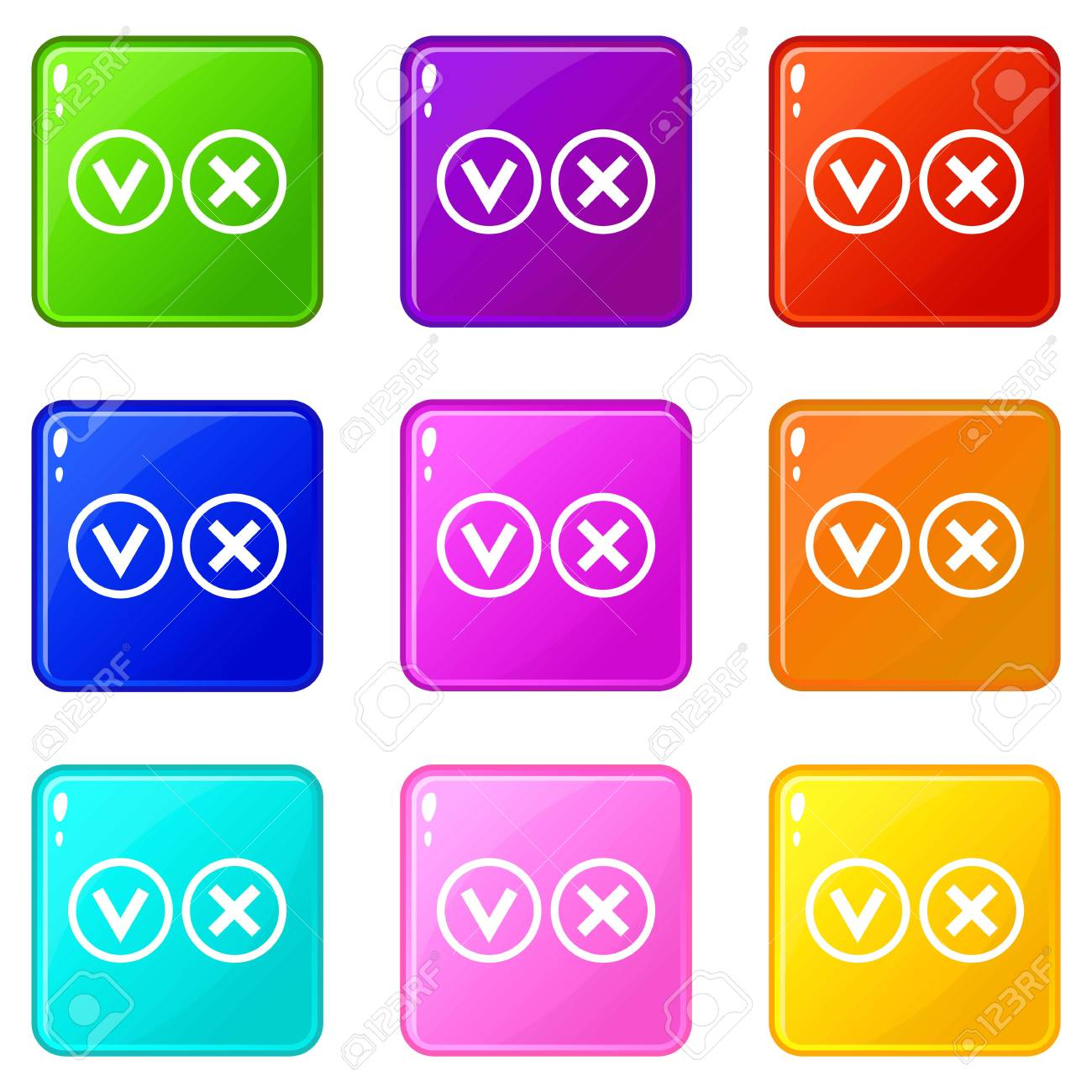 Signs Of Choice Of Tick And Cross Icons 9 Set Royalty Free Cliparts