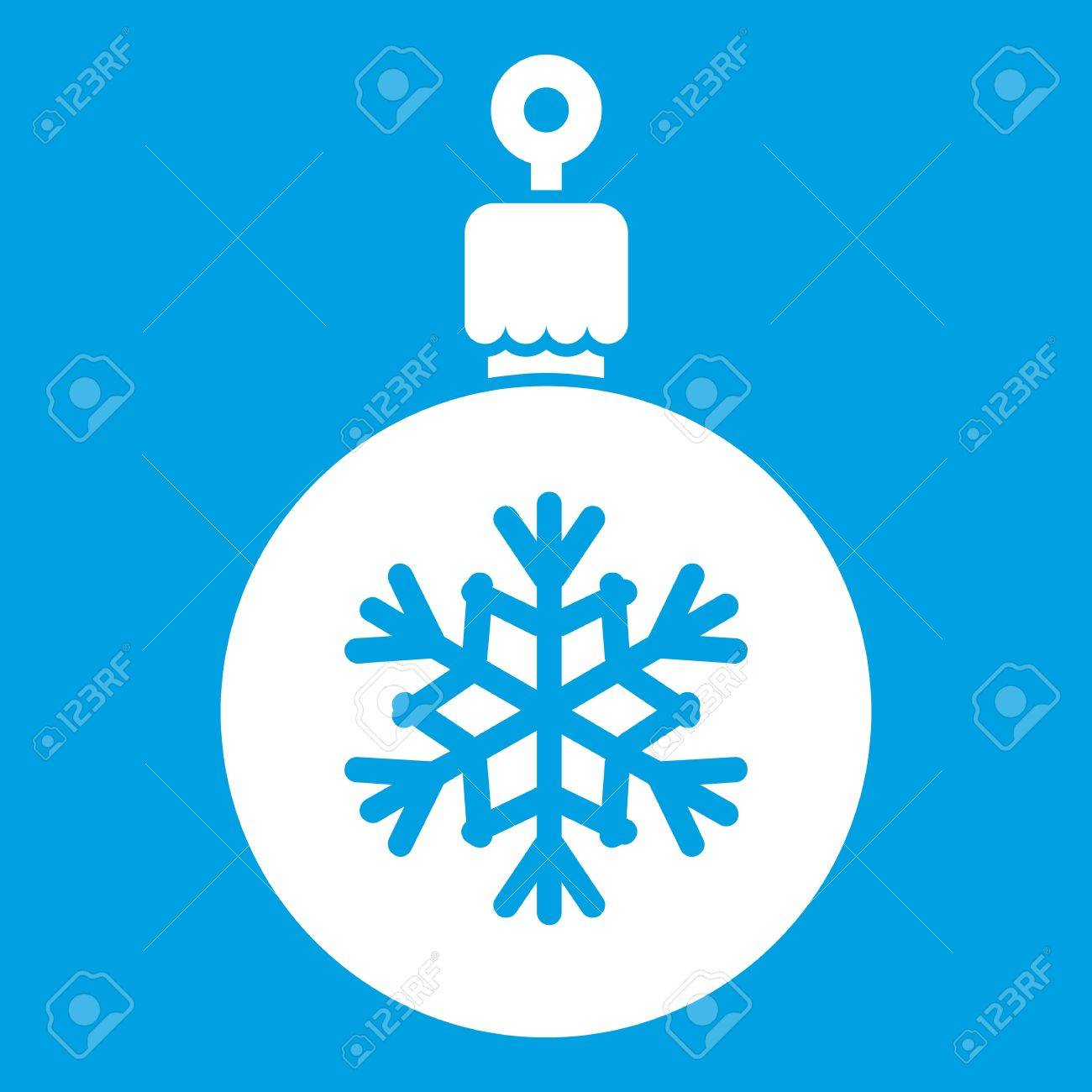 Ball For The Christmas Tree Icon White Isolated On Blue Background