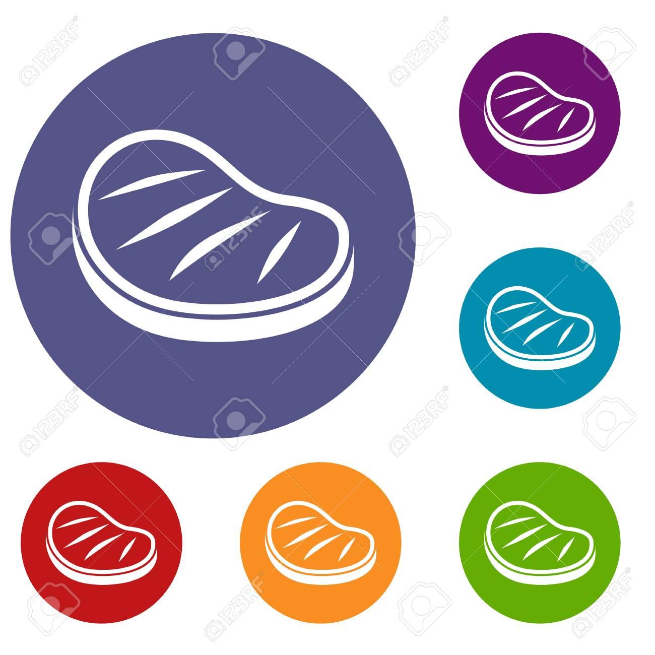 Foto de archivo - Iconos de filete de carne en círculo plano de color rojo 36090f4604b