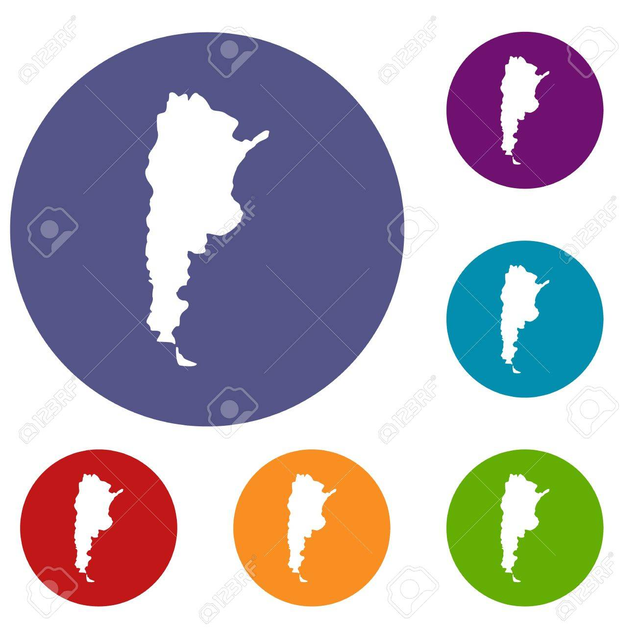 Map of argentina icons set in flat circle red blue and green map of argentina icons set in flat circle red blue and green color for web gumiabroncs Gallery