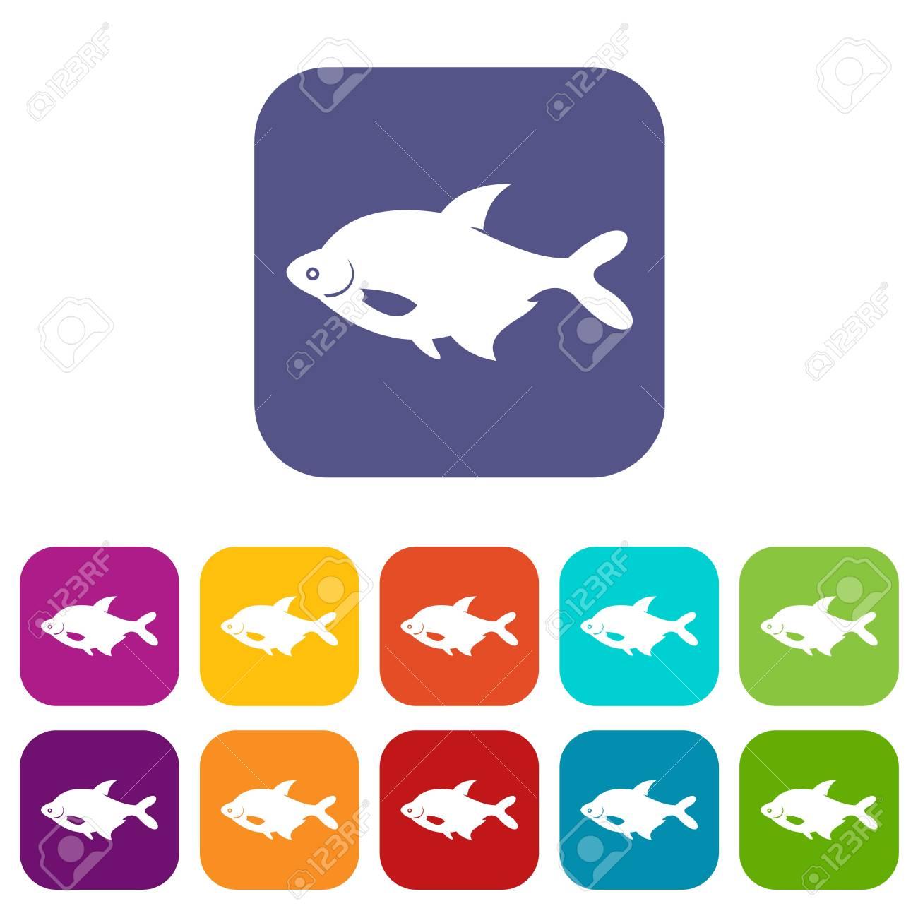 Fisch-Icons Set Vektor-Illustration In Flachen Stil In Den Farben ...
