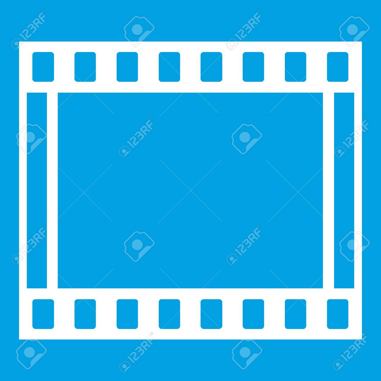 Film With Frames Movie Icon White Isolated On Blue Background ...