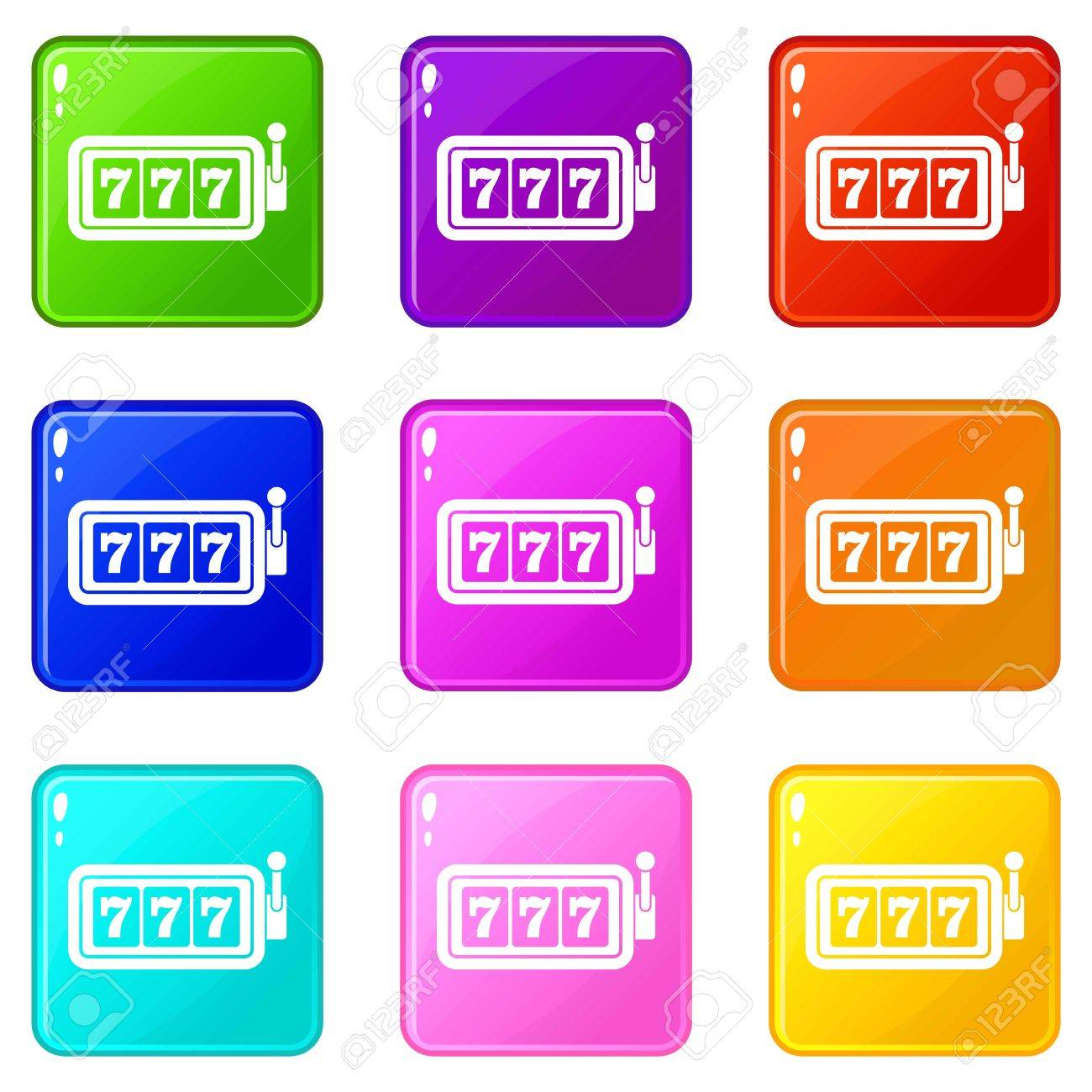 Lucky Seven On Slot Machine Set 9 Illustration Stock Vector