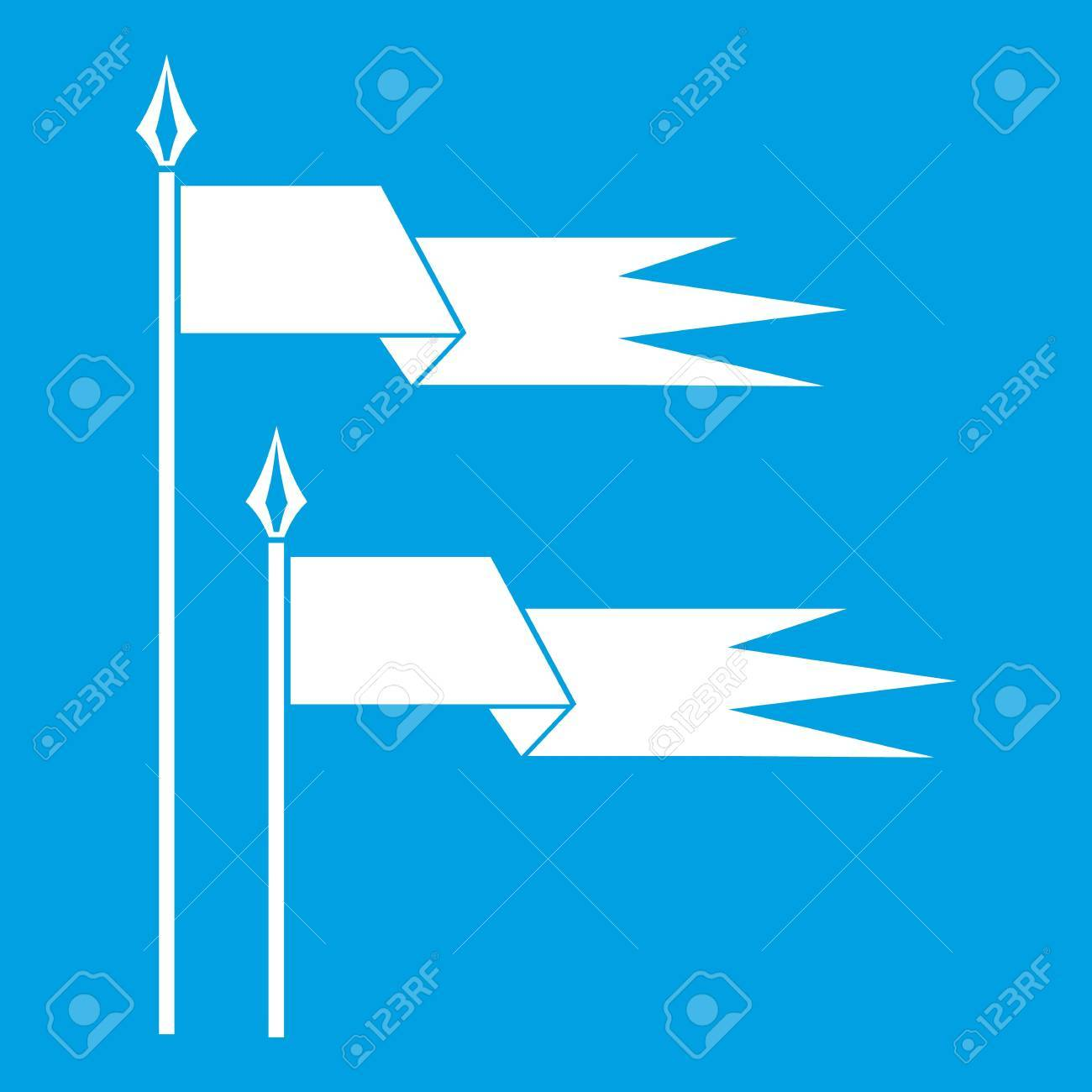 Ancient Battle Flags Icon White Isolated On Blue Background Vector ...