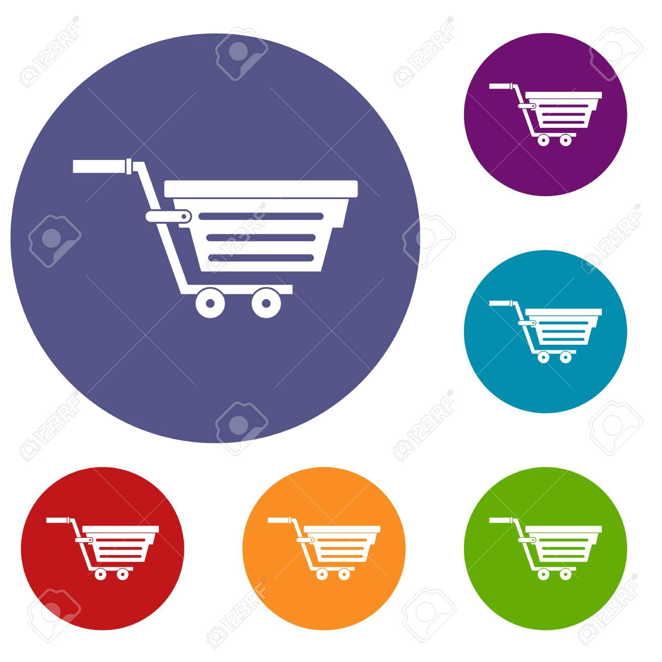 Shopping Basket On Wheels Icons Set In Flat Circle Red Blue