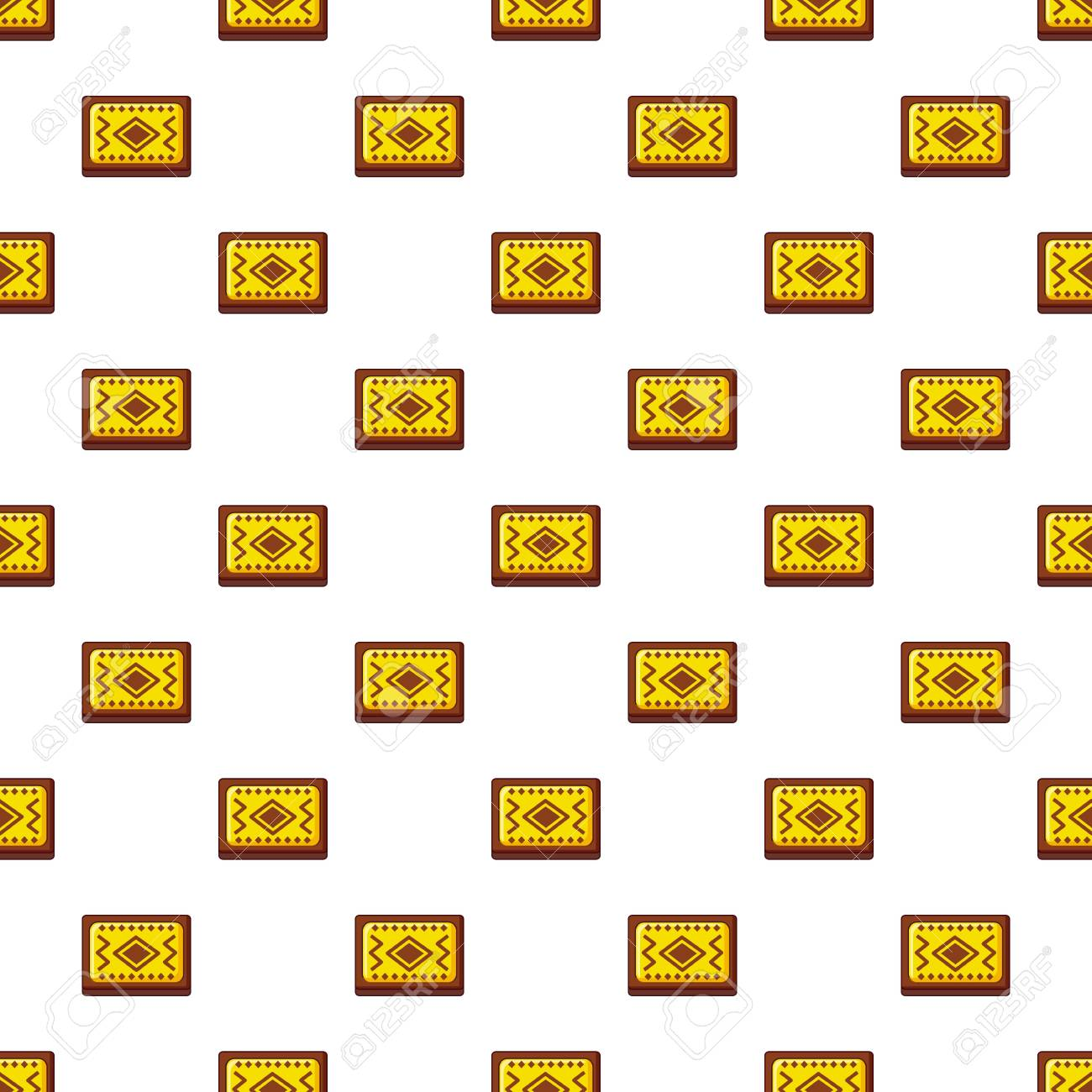 Yellow And Brown Turkish Carpet Pattern Stock Vector