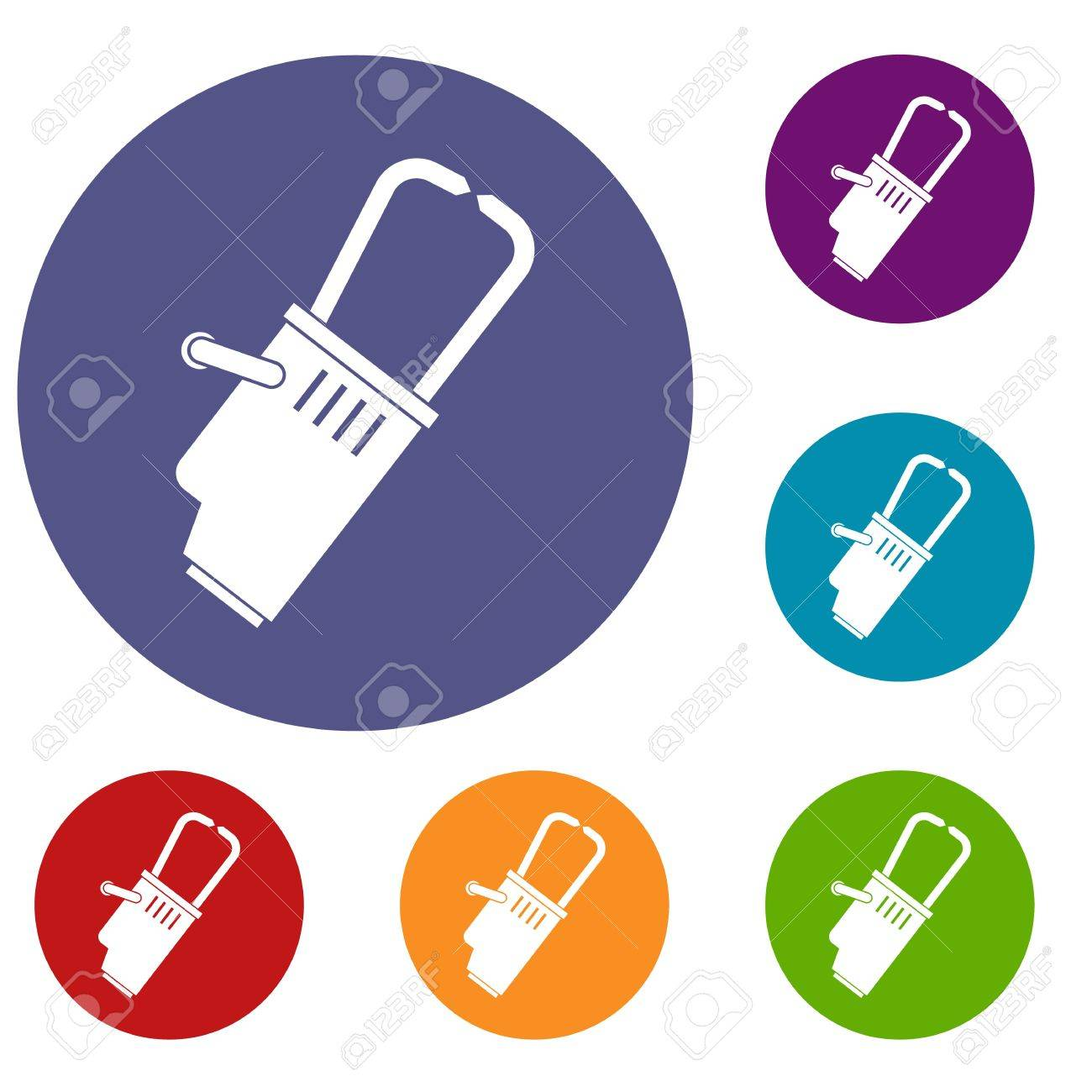 Welding Equipment Icons Set In Flat Circle Red Blue And Green Diagram Vector Color For Web