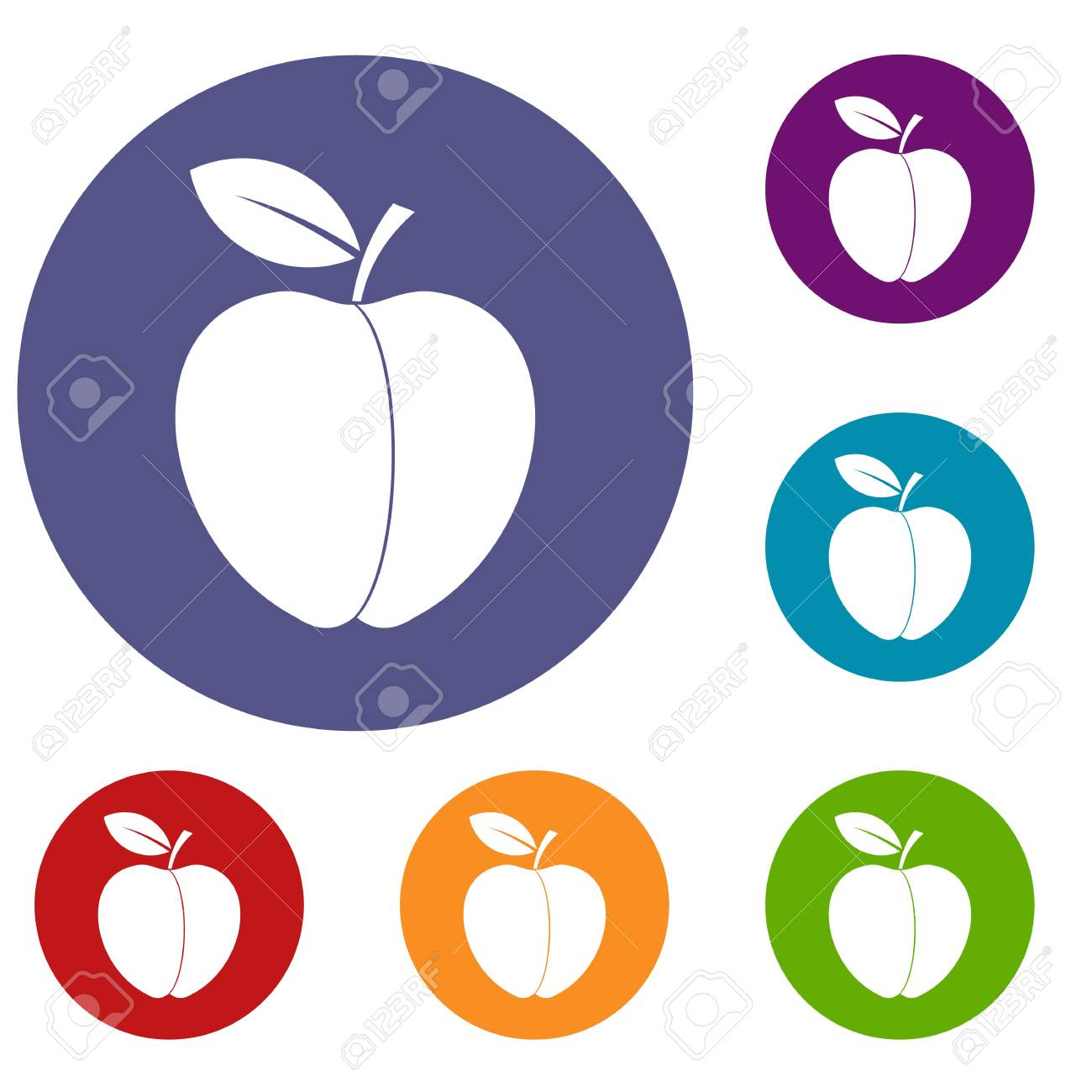 Apple icons set in flat circle red, blue and green color for
