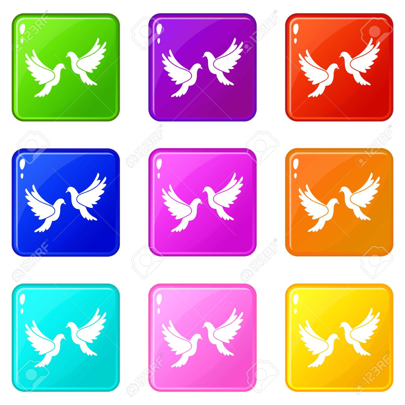 Wedding Doves In Simple Style Isolated On White Background Vector ...